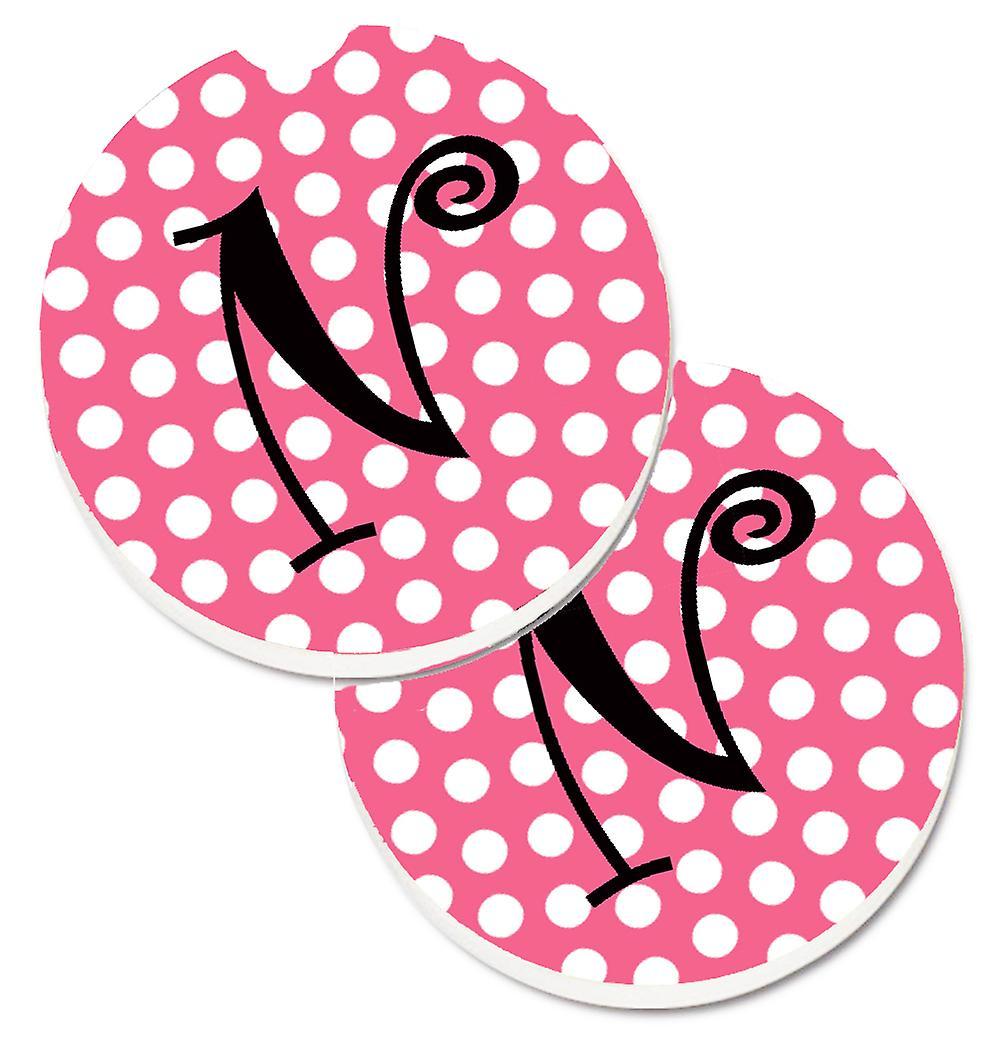 ec6484bc2 حرف N حرف واحد فقط-مجموعة الوردي منقطة أسود من الوقايات سيارة حامل الكأس 2