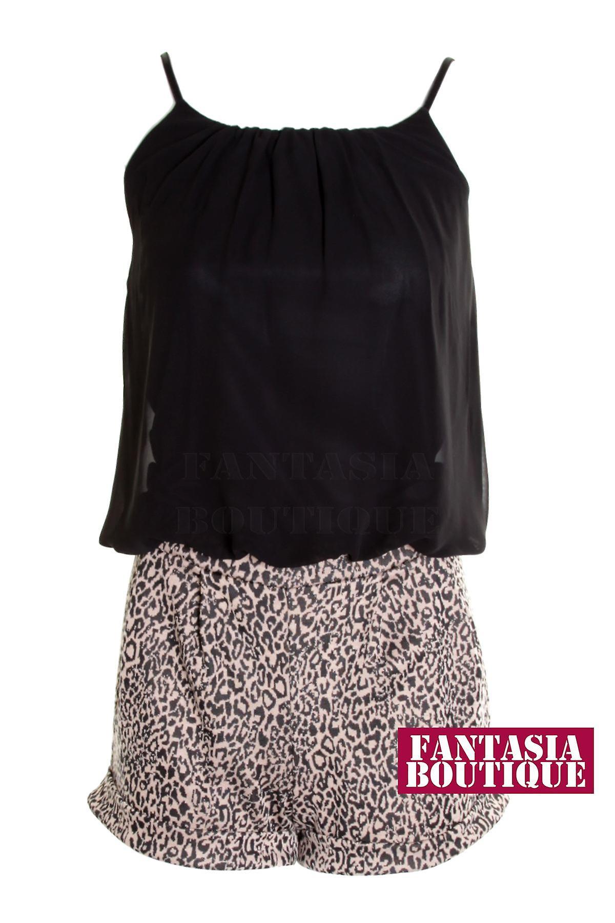 5bbd19648f620 Ladies Zig Zag Leopard Sleeveless Chiffon Tie Back Women s Playsuit ...