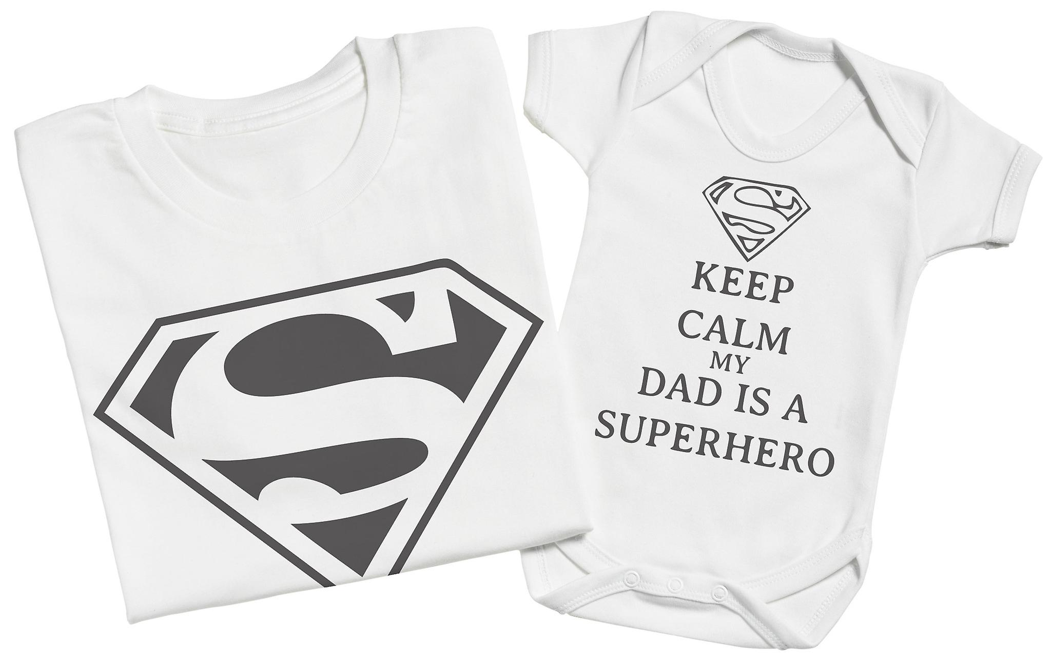 Matching Father Baby Gift Set Keep Calm Dad is A Super Hero Mens T Shirt /& Baby Bodysuit