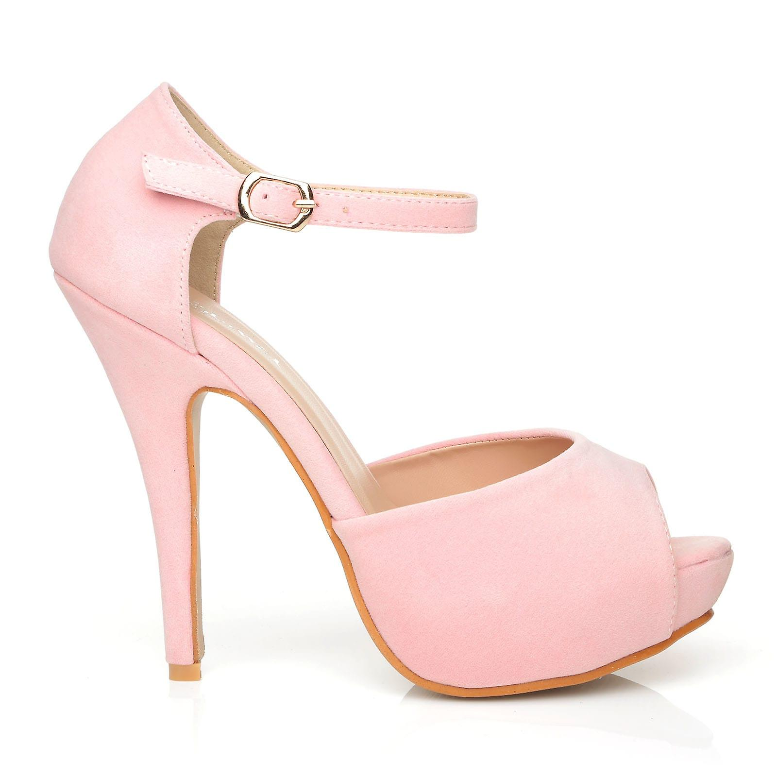 a176a70cbf0 LONDON Baby Pink Faux Suede Ankle Strap Platform Peep Toe High Heels ...
