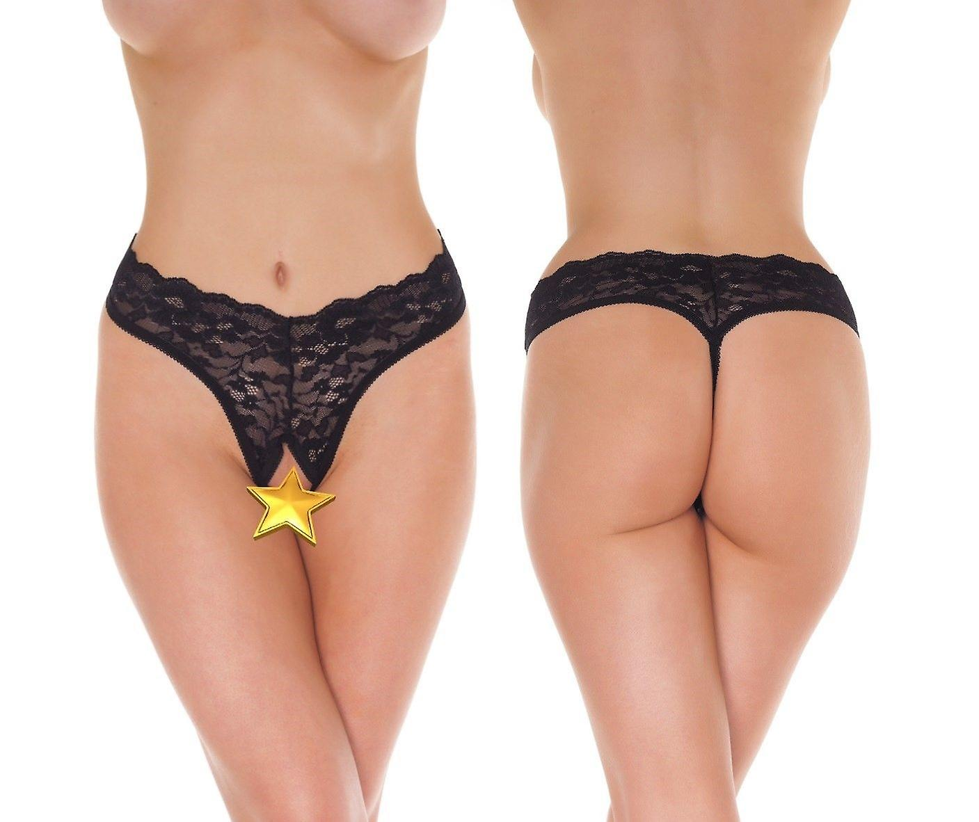 uk availability double coupon bright in luster 'Amorable' Rimba Lingerie Sexy Black Lace Crotchless G-String Knickers  (R1250)