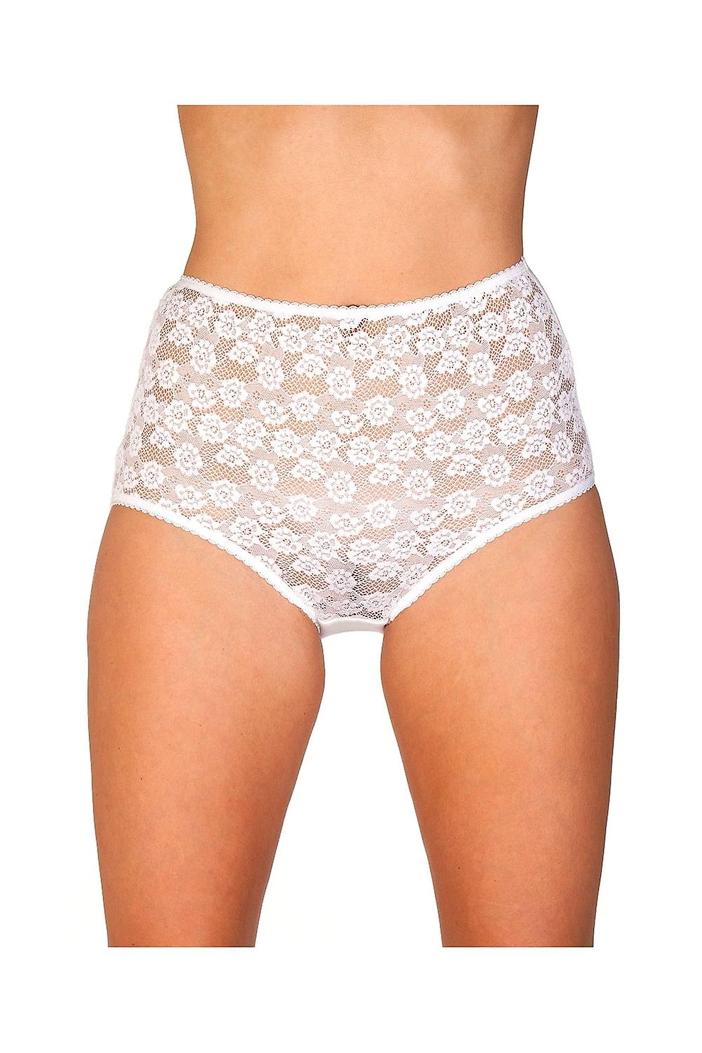 509904500bb2 Camille White Floral Lace Front Womens Maxi Brief Knickers