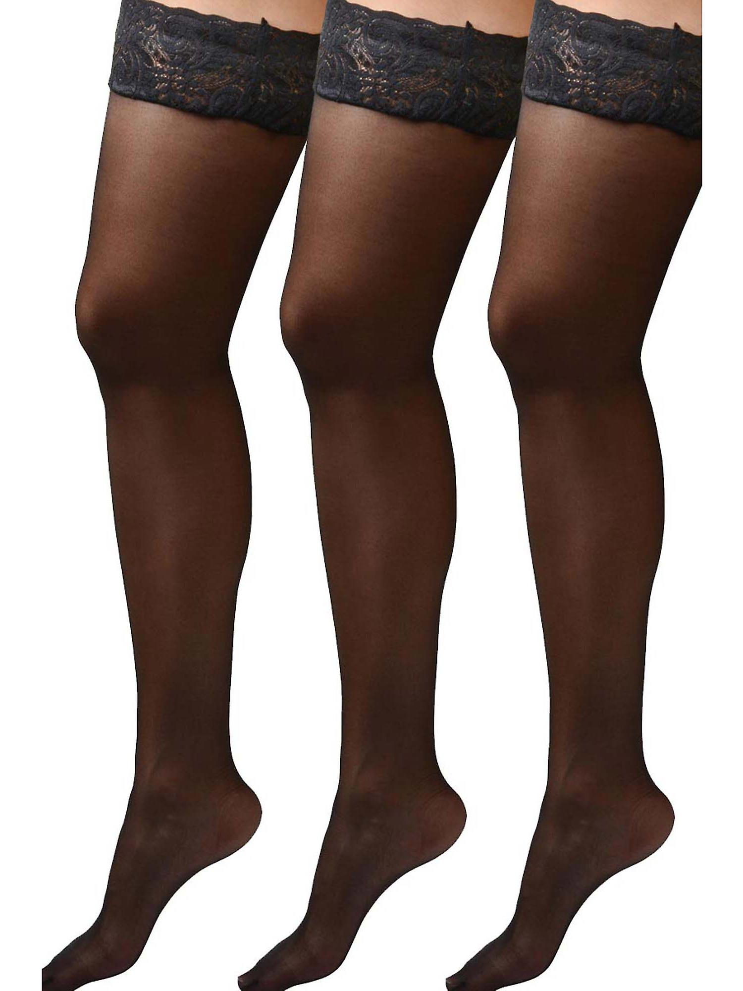 ae1969d55 Womens Plus Size Hosiery Black Sheer Lace Top Stay Up Silicone Thigh High  Stockings- 3