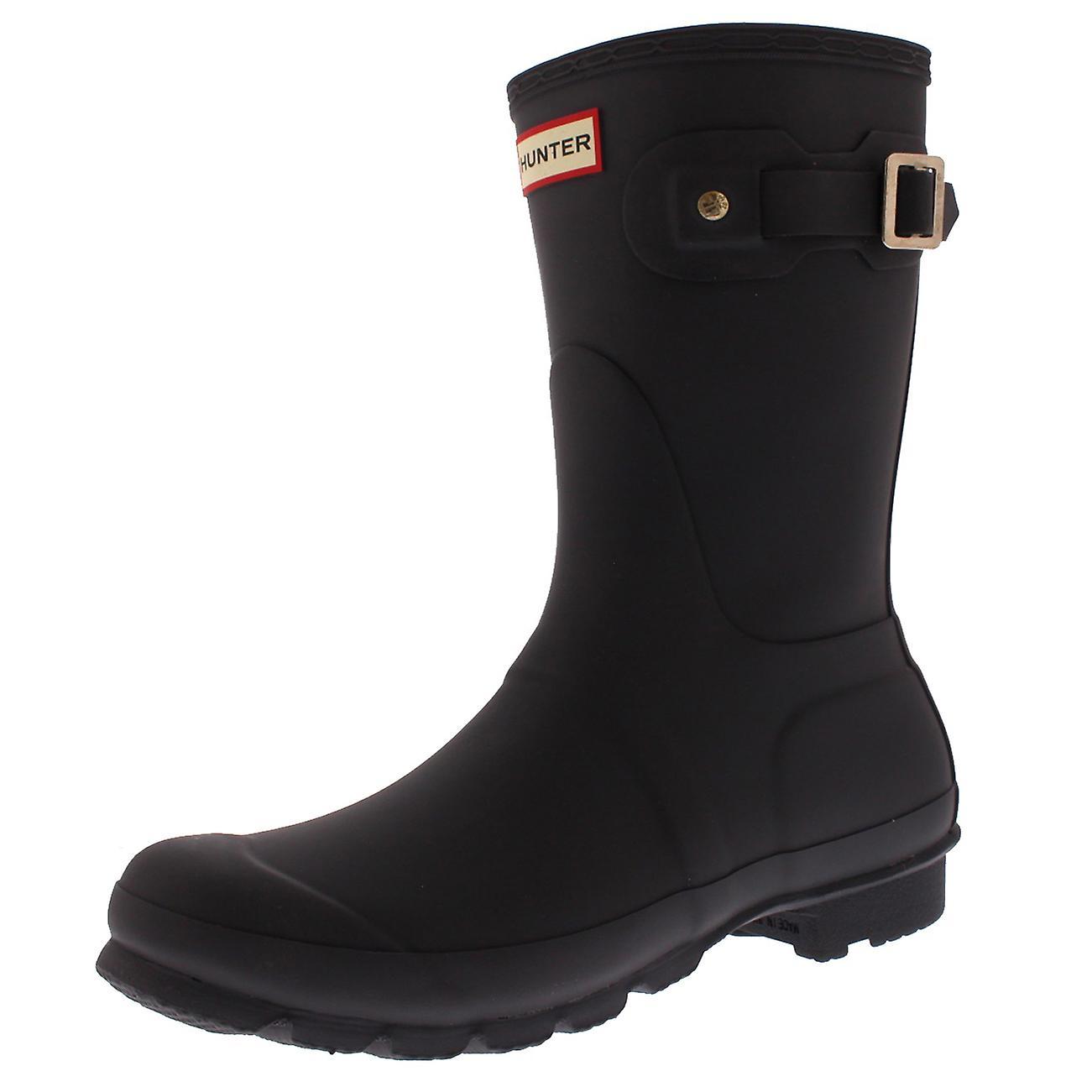 Womens Hunter Original Short Rubber Dark Slate Wellington Mid Calf Boots