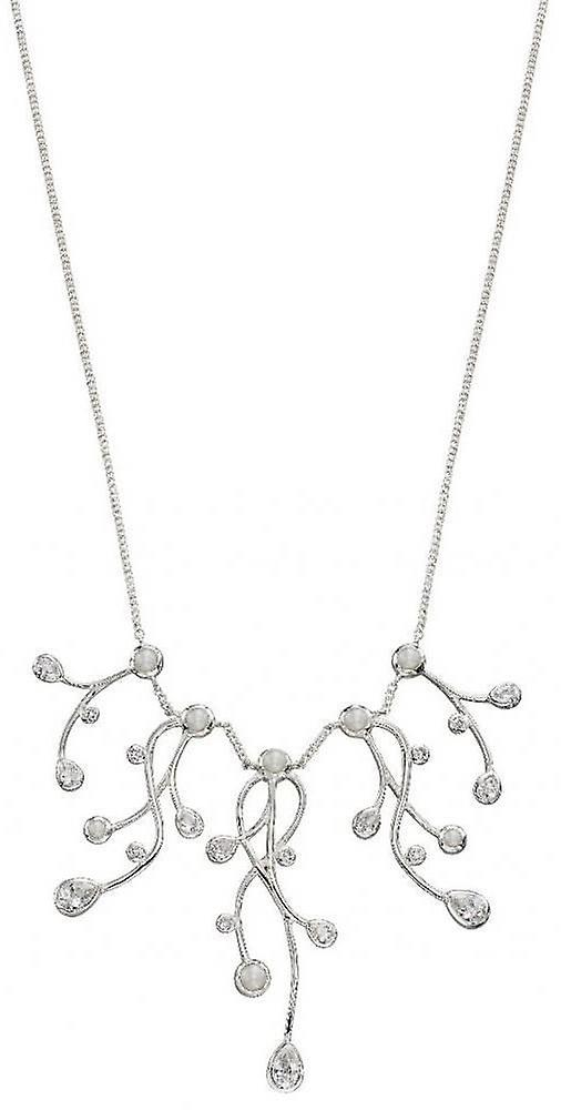 3d07e5ce11cd91 Elements Silver Cubic Zirconia and Pearl Drop Necklace - Silver | Fruugo