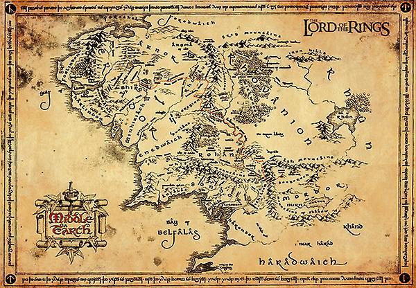 Lord Of Rings Pergament Kort Pergament Plakat 47x67cm Fruugo Danmark