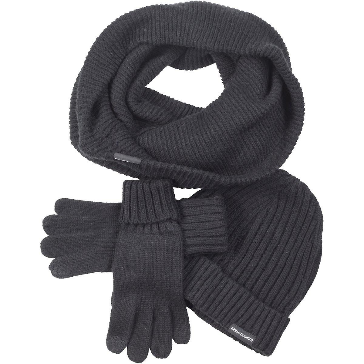 d91db637e4c Urban classics - WINTER SET-Hat scarf Gloves black