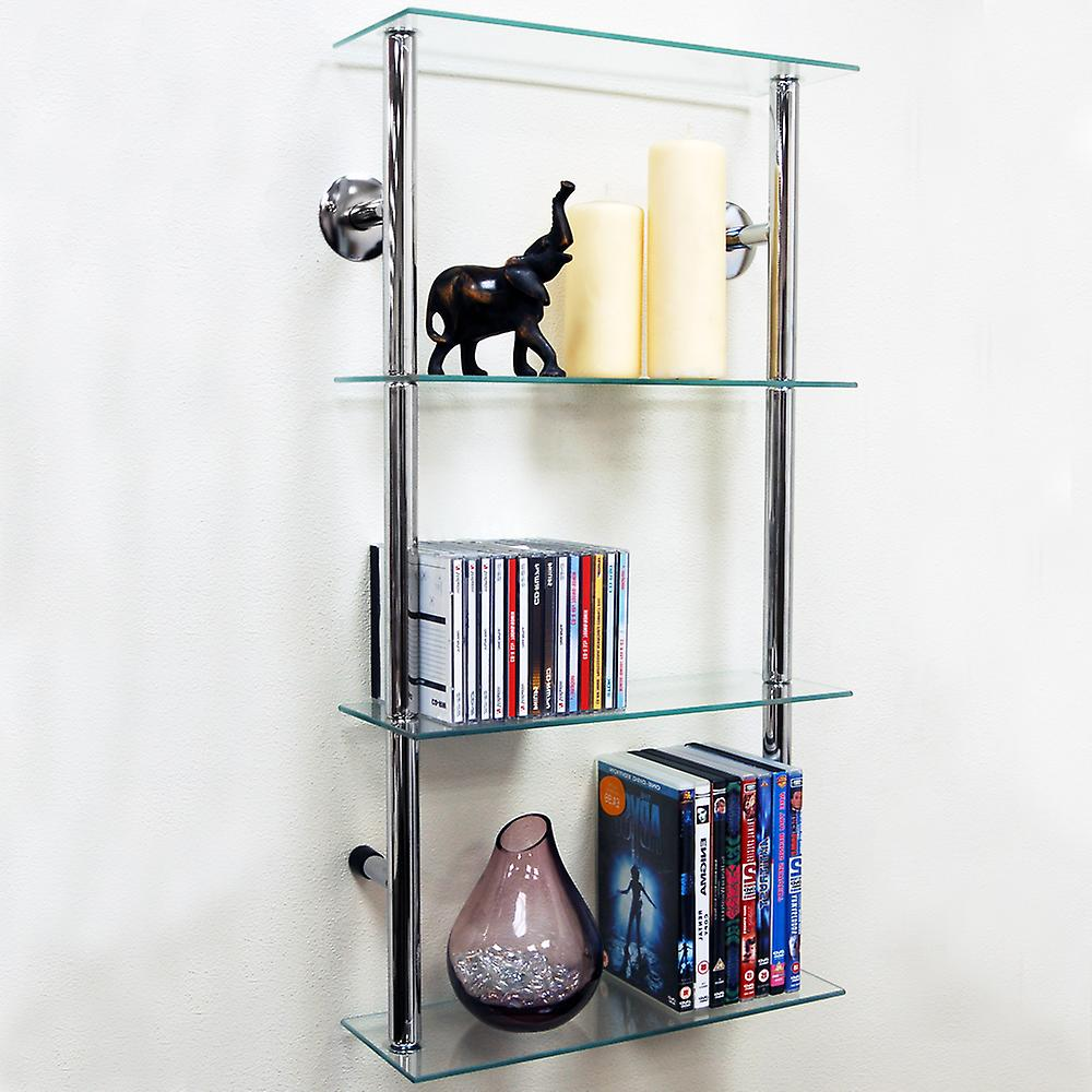 Maxwell Wall Mounted 4 Tier Glass 90 Cd 60 Dvd Storage Shelves Clear