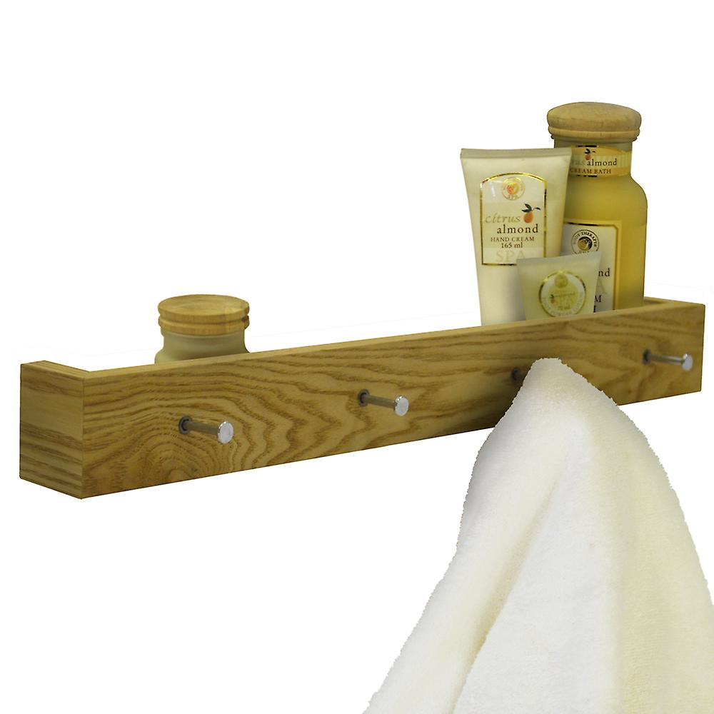 official photos 88476 fa25f Ellis - Wood Wall Mounted 2ft / 60cm Floating Shelf With 4 Hooks - Oak