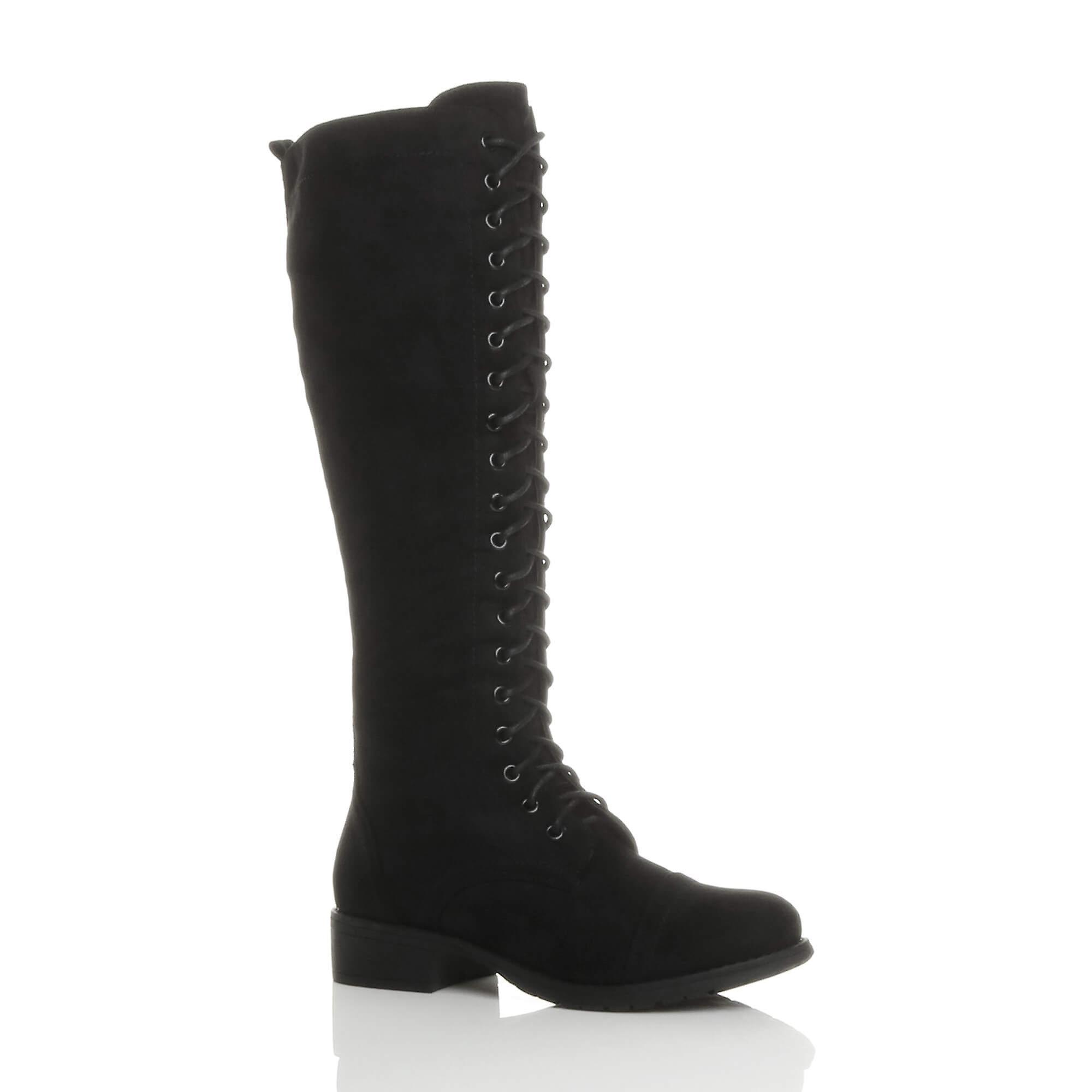 1bb856494f3 Ajvani womens low block heel lace up zip knee high calf biker army military  boots