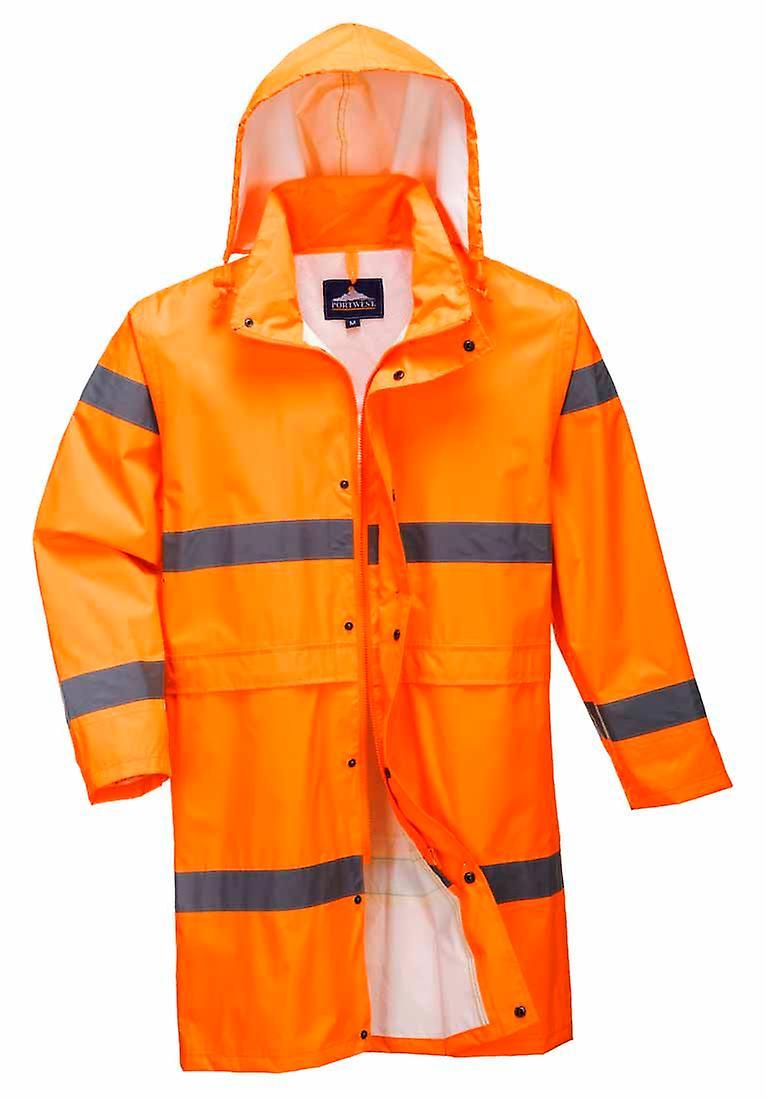 Hi Kapuze Portwest Vis Lange Workwear Wasserdichte Mit 100cm Regenjacke Sicherheit 8nOywmN0v
