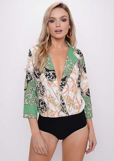 1896e33de4 Scarf Print Collared Shirt Bodysuit Green