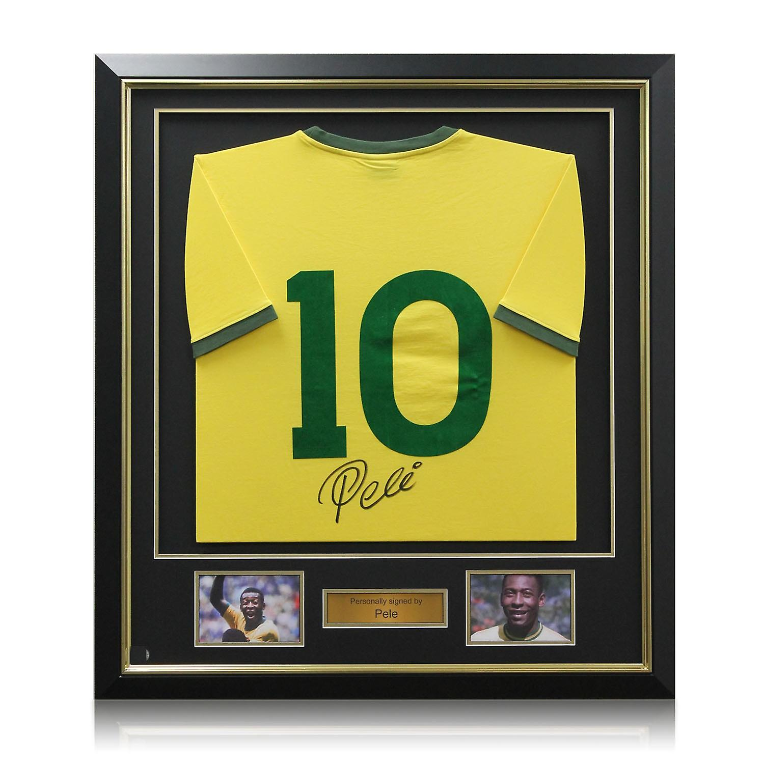 Deluxe Framed Pele Number 10 Brazil Football Shirt (Gold Inlay)  5514bd9cc