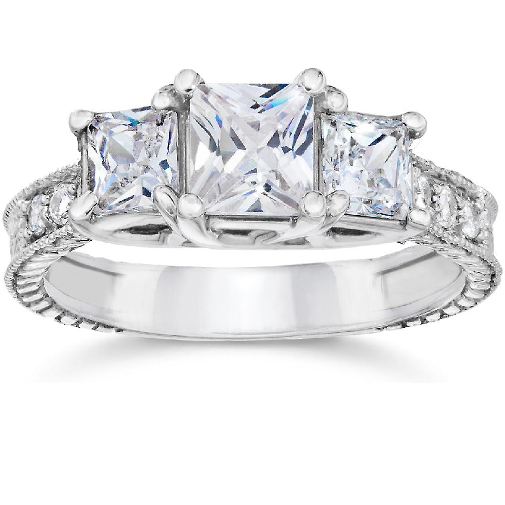 fa57286099fe0 2ct Vintage Three Stone Princess Cut Diamond Engagement Ring 14K White Gold