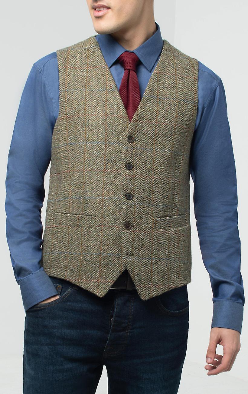 Skotsk Harris Tweed Herre grøn sildeben Tweedveste Regular fit