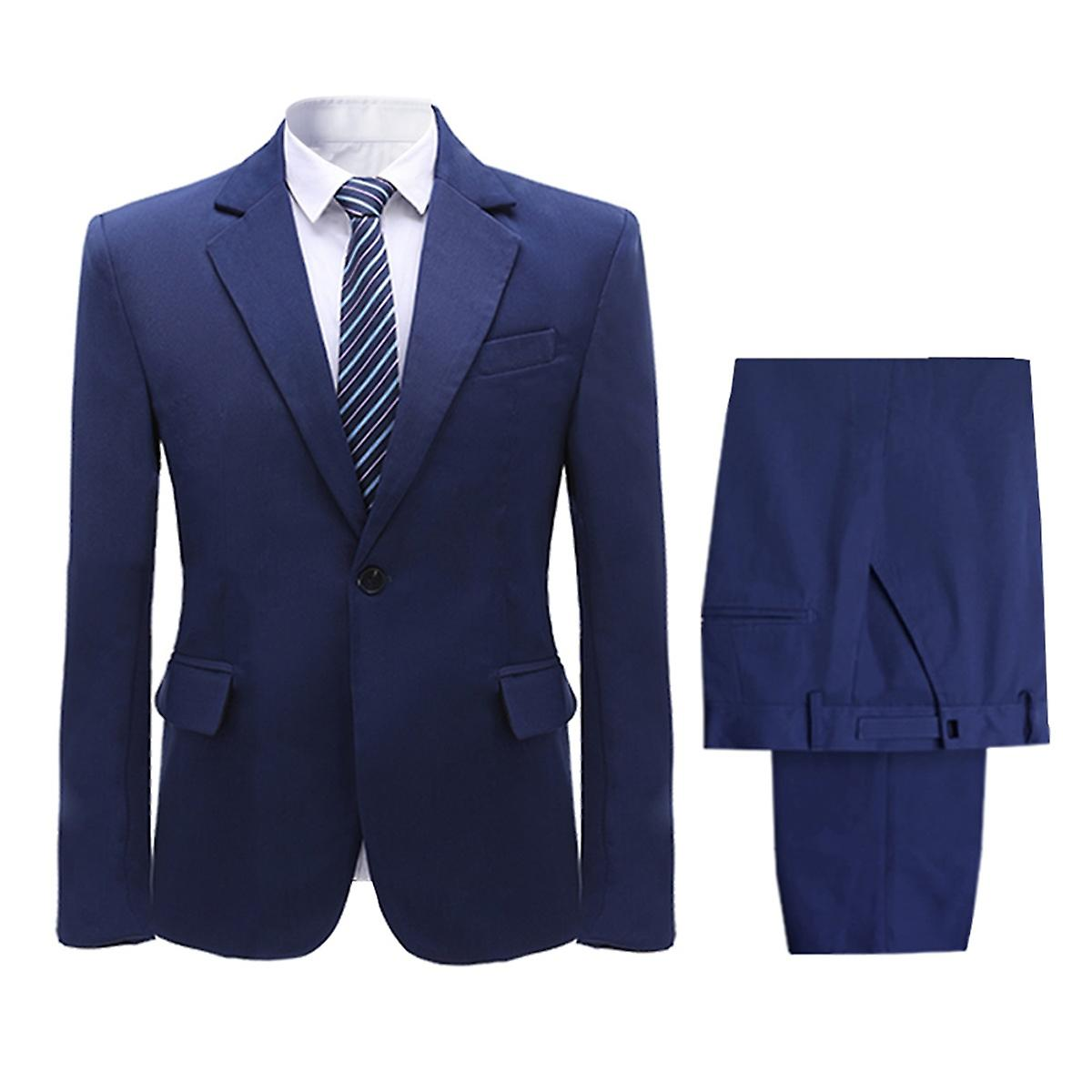 Allthemen menn ' s Dress 2 Piece solid bankett fest Business casual blazer & bukser