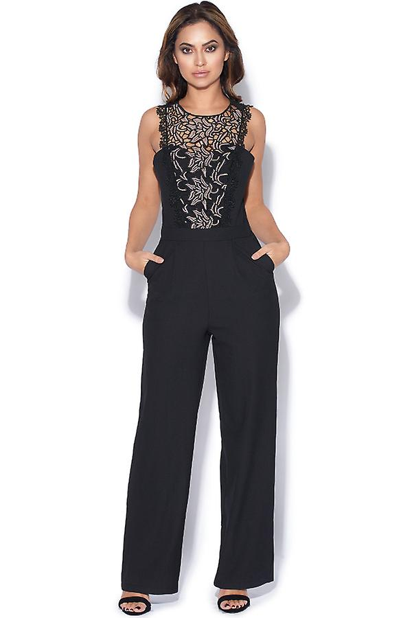 5302108bc2c Black Jumpsuit With Lace Panel