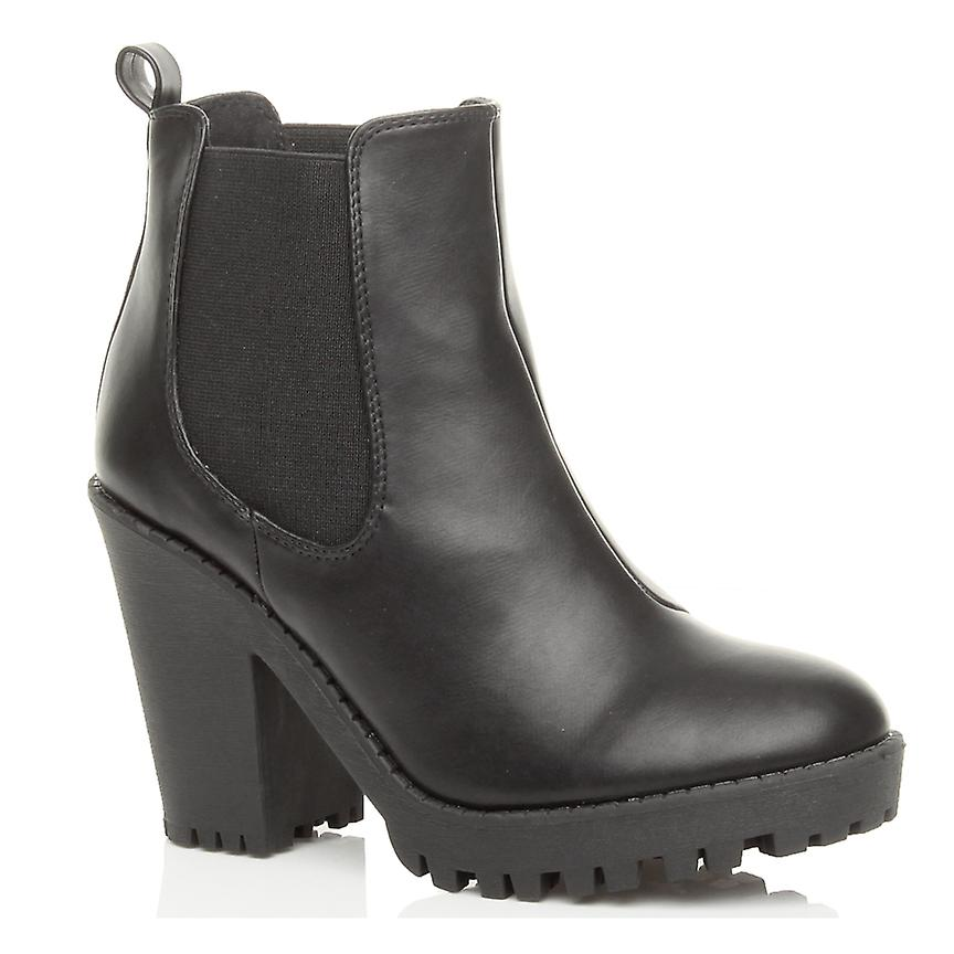 bb9da4d33641d Ajvani womens high heel block platform cleated chelsea riding ankle boots  booties shoes
