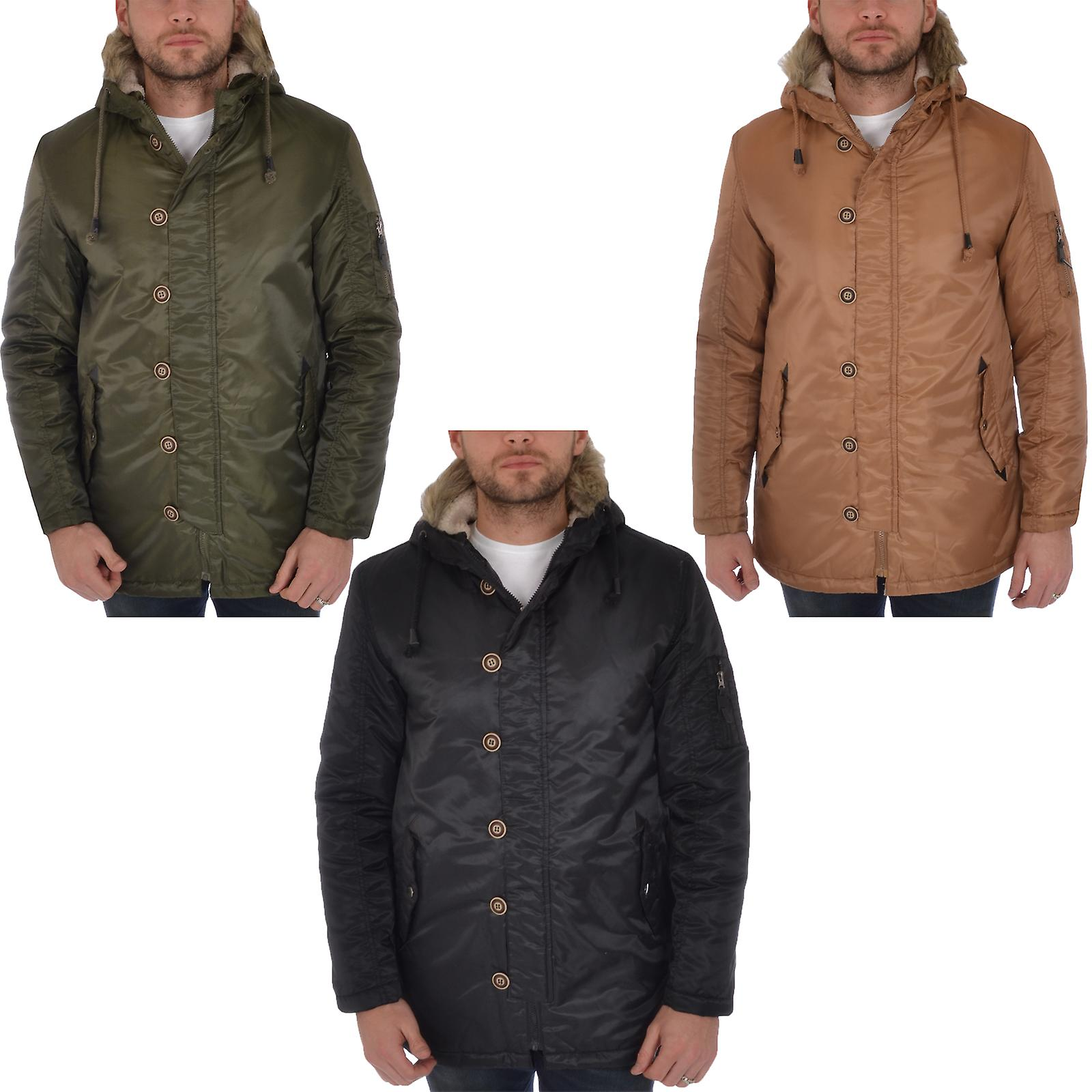 fb4cd3a7 Sjel Star Mens Faux pels hette Parka jakke polstret vinterfrakk | Fruugo