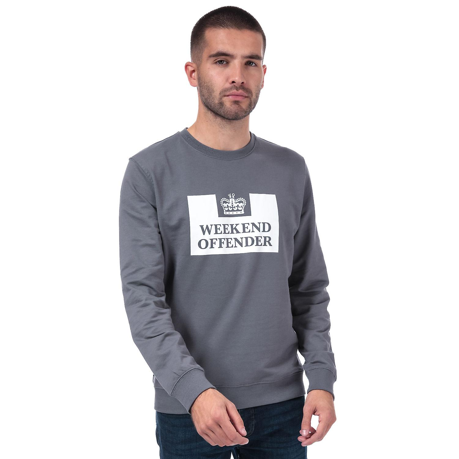 Ribbed Cuffs Collar and Weekend Offender Mens Birra Logo Crew Sweat in Grey