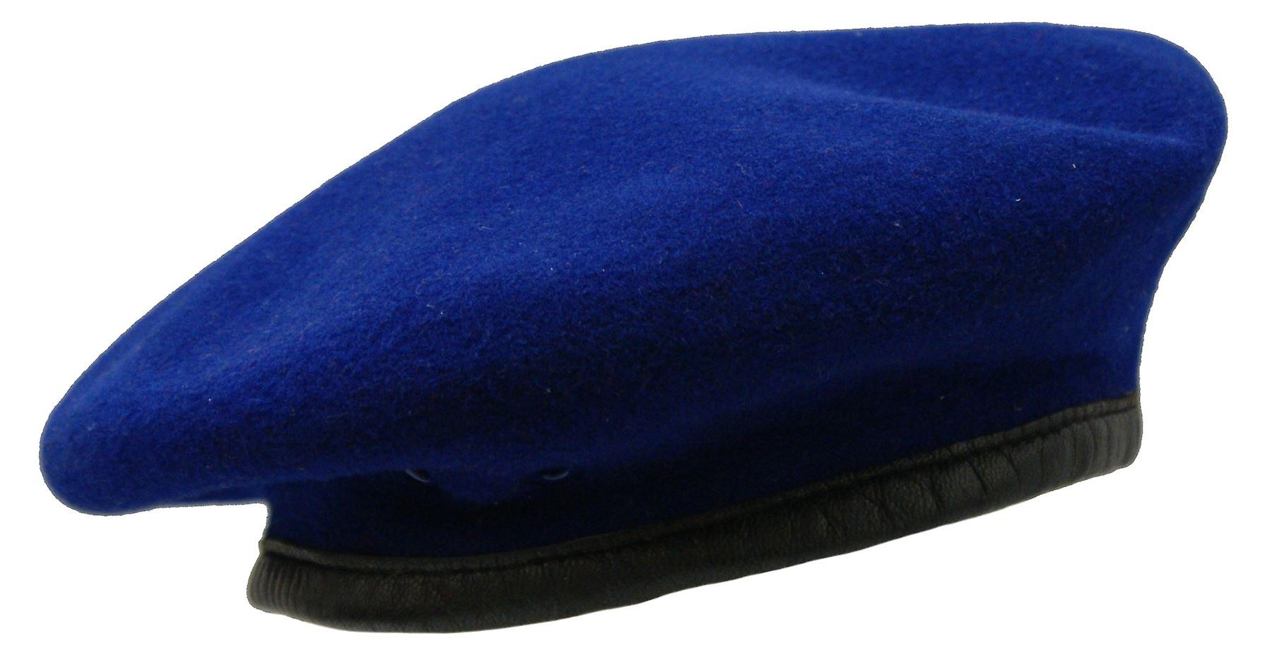 c249c882b3283 British Army Style Wool Mens Beret Hat Cap Leather Band