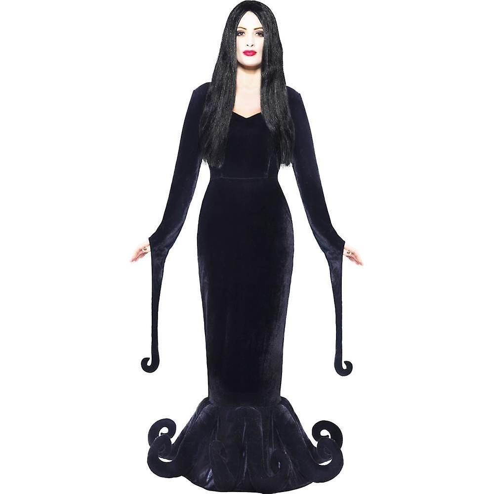 Addams De Mujer La Morticia Halloween Familia Vestido Negro 8ONnvym0wP