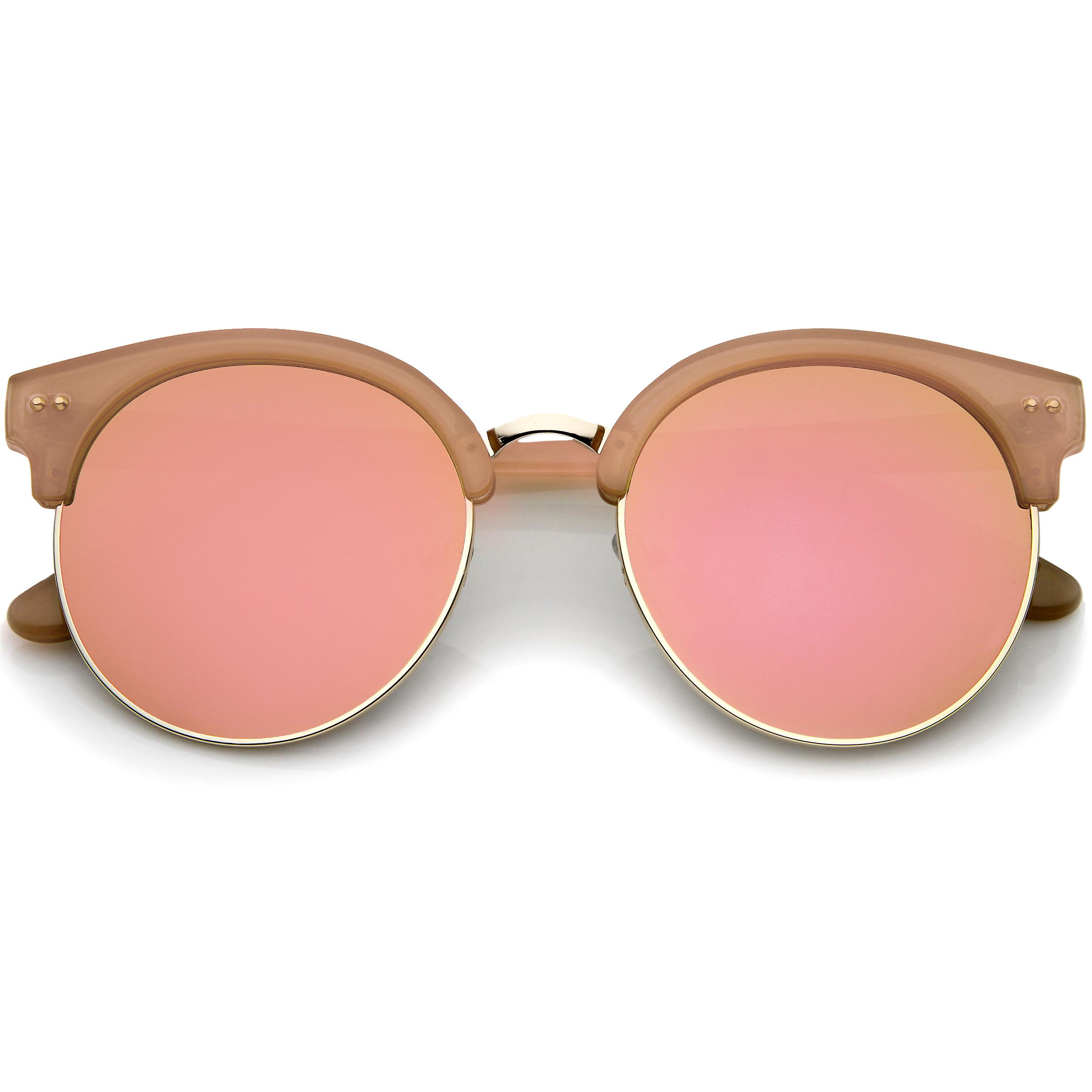 ad288135aef42 Womens Oversize Half Frame Color Mirror Flat Lens Round Sunglasses 55mm