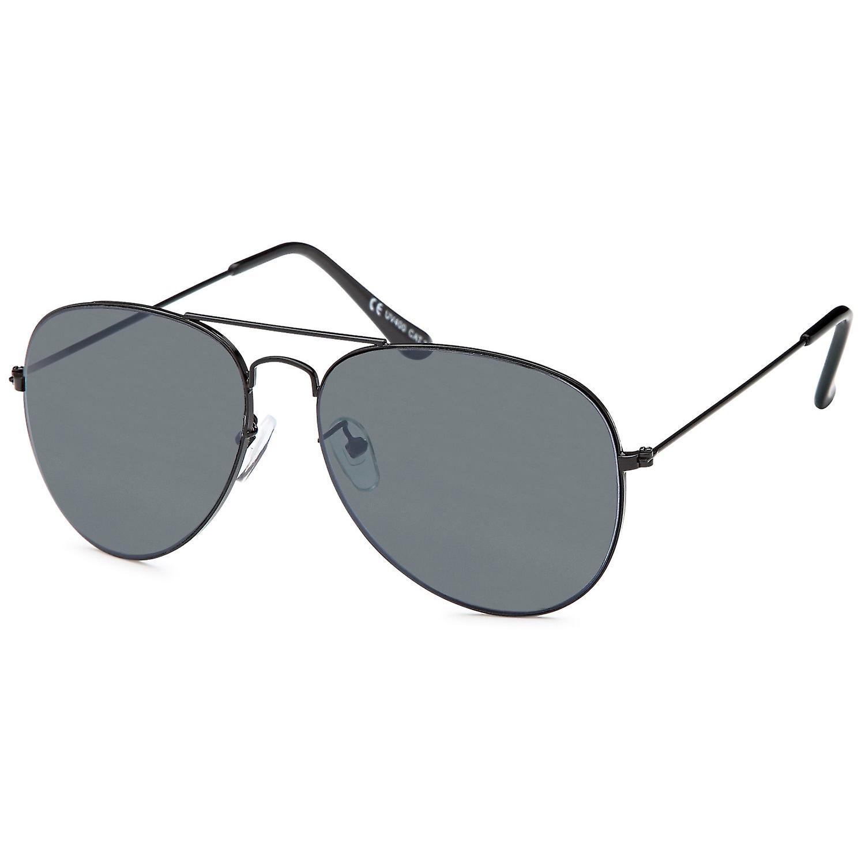 Bling metall solbriller pilot sort grå