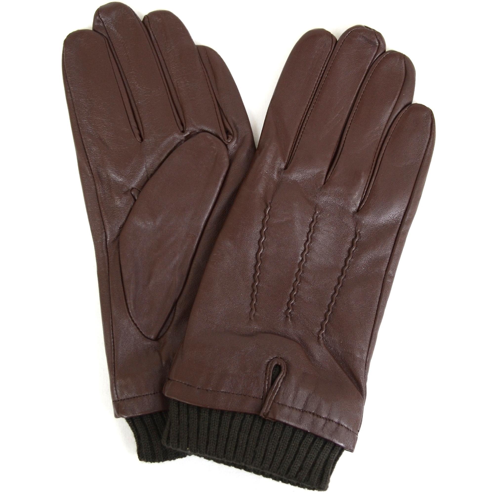 a5370a759ed Læder strikket Rib manchet handsker - brun | Fruugo