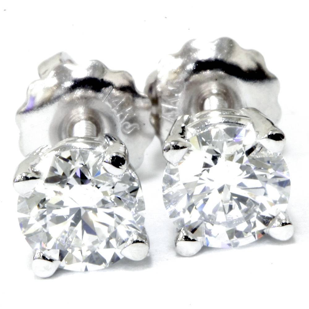 a821bf0f5 I/VS 1/2ct Genuine Round Diamond Studs Screw Back 14K White Gold ...