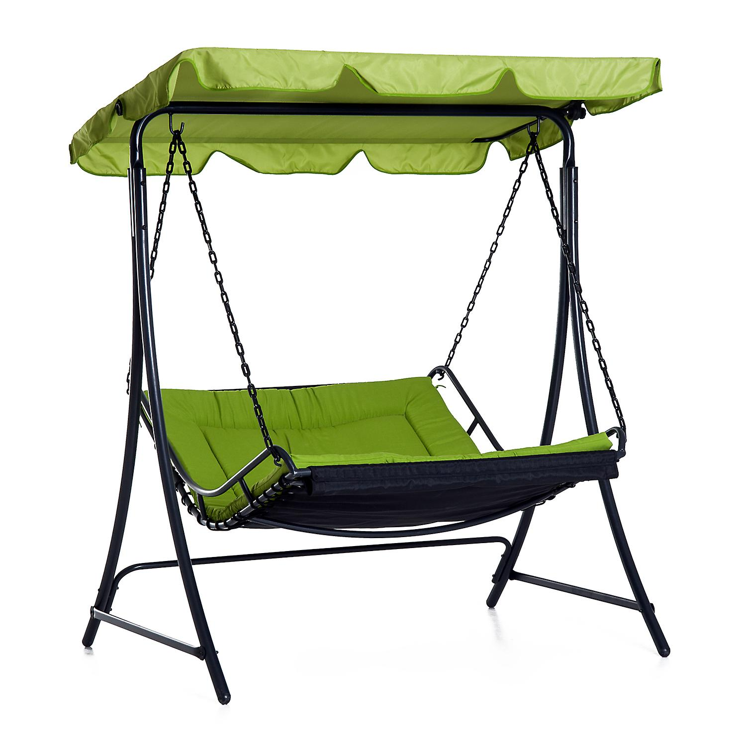 Outsunny Swing Chair Hammock Seat Bench Outdoor Garden Adjustable Canopy Cushion Bed Green