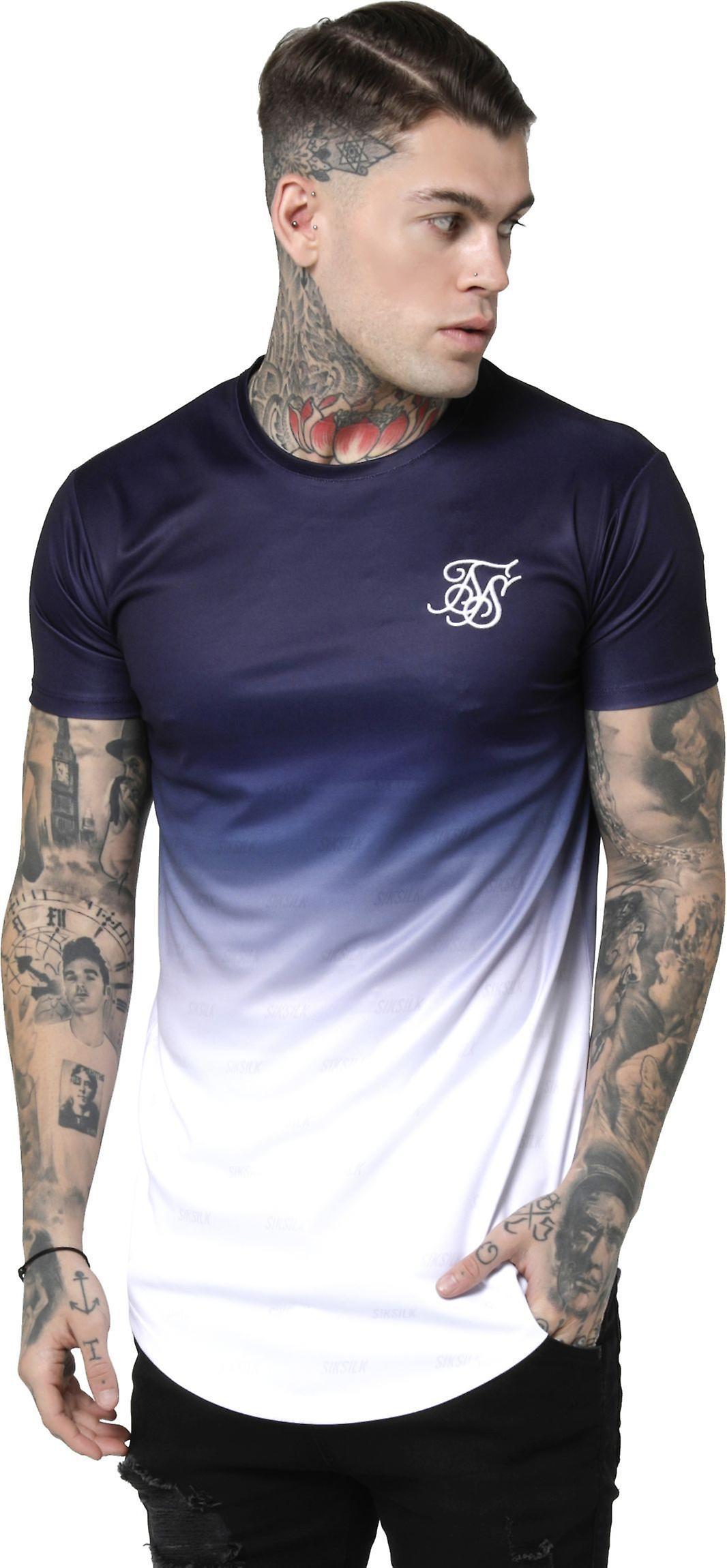 T-shirt SikSilk S//S Curved Hem Blau Herren