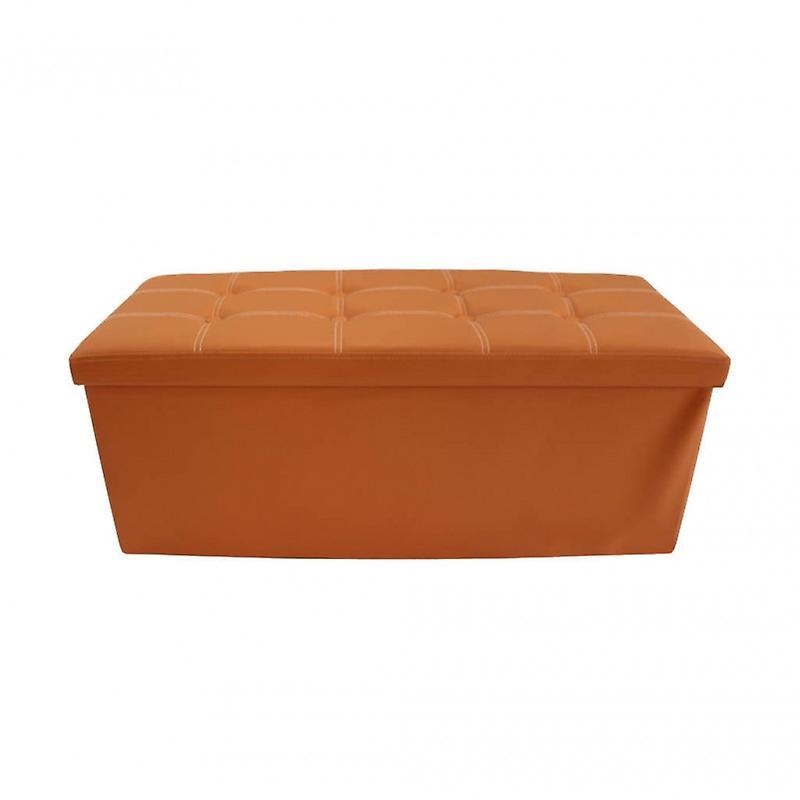 Mobili Rebecca Pouf Baule Finta Pelle Arancione Puff Portaoggetti 38x110x38