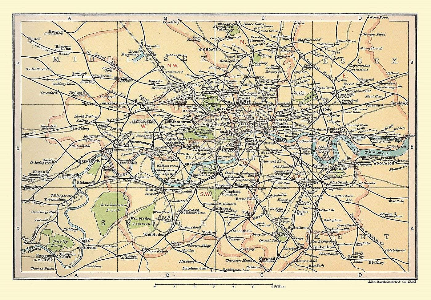 Map Of London And Surrounding Suburbs.Railway Map Of London Suburbs 1908 1000 Piece Jigsaw Puzzle Jhg