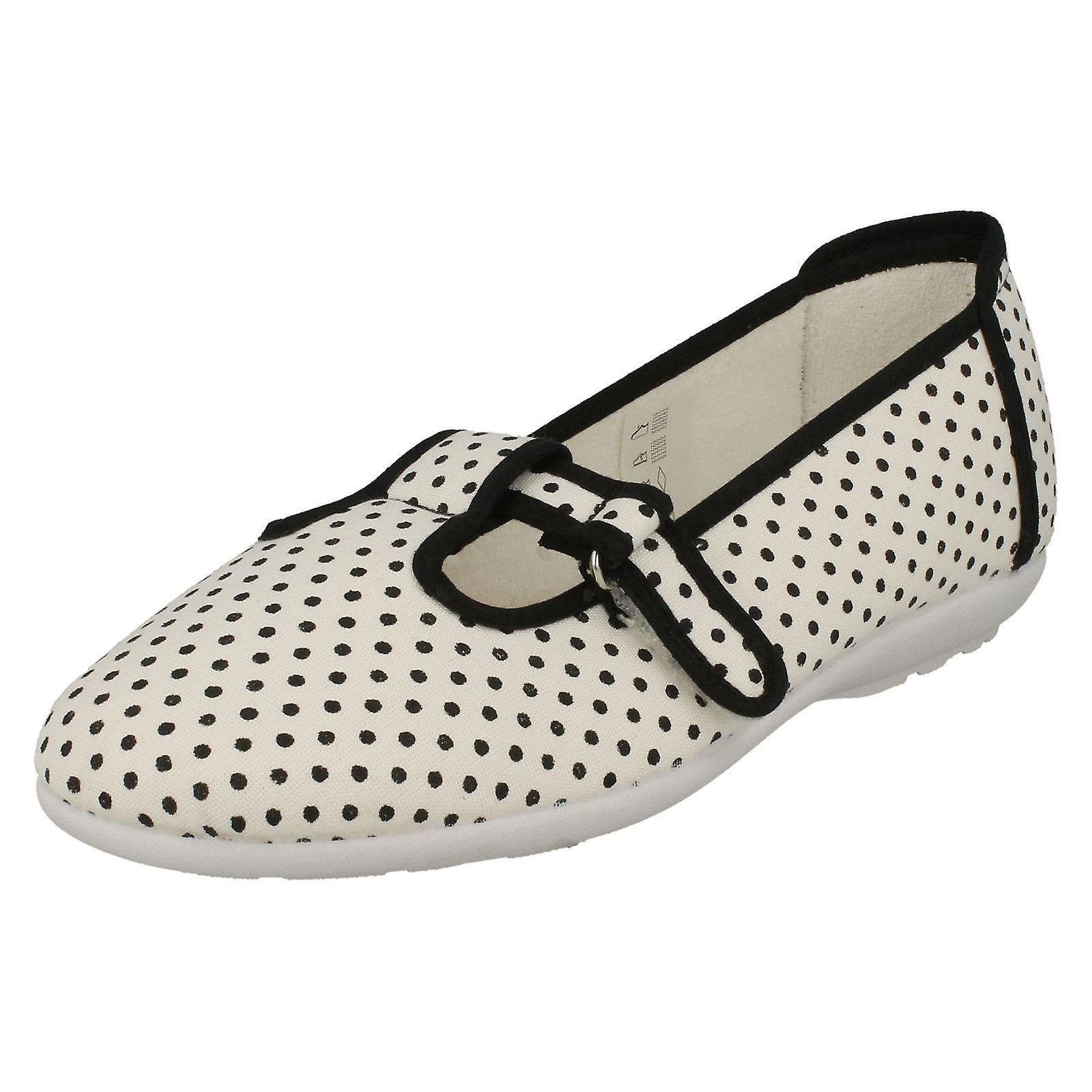 646331a9a45 Ladies Easy B T-Bar Canvas Shoes Dots - White Polka Dot Canvas - UK ...