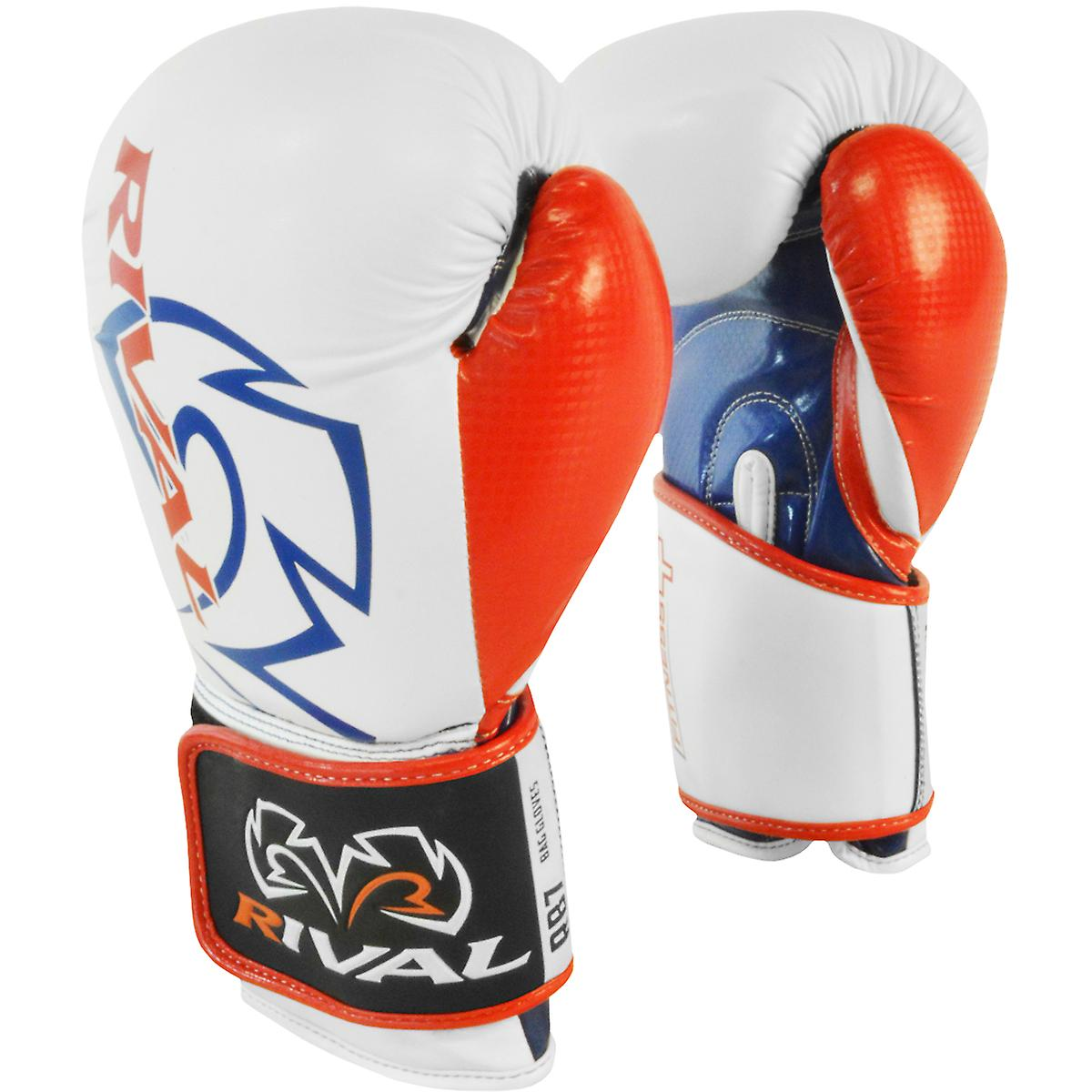 Rival Boxing RB7 Fitness+ Hook and Loop Bag Gloves WhiteBlueRed