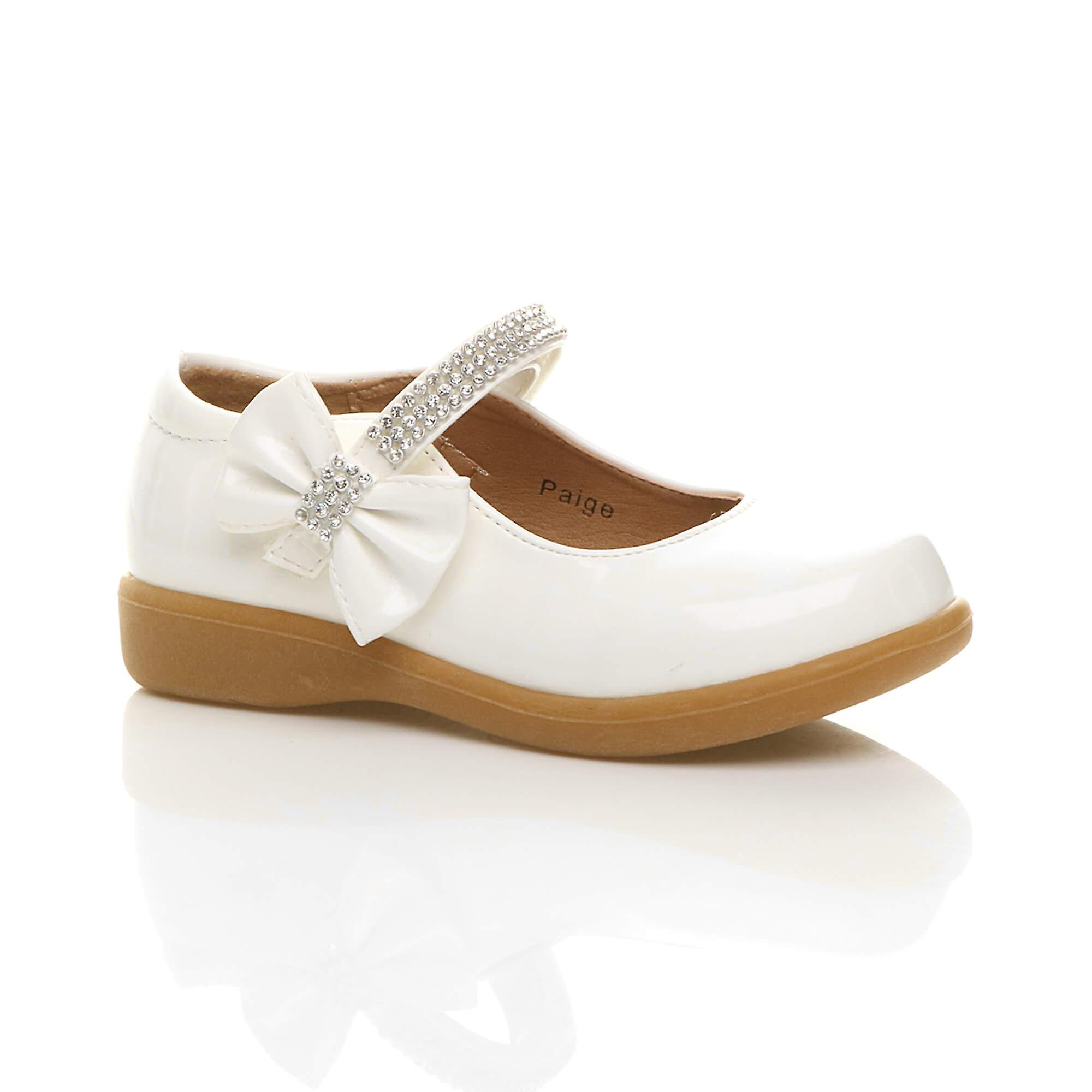 f412373a8ec Ajvani girls low heel mary jane strap bow party bridesmaid shoes ...