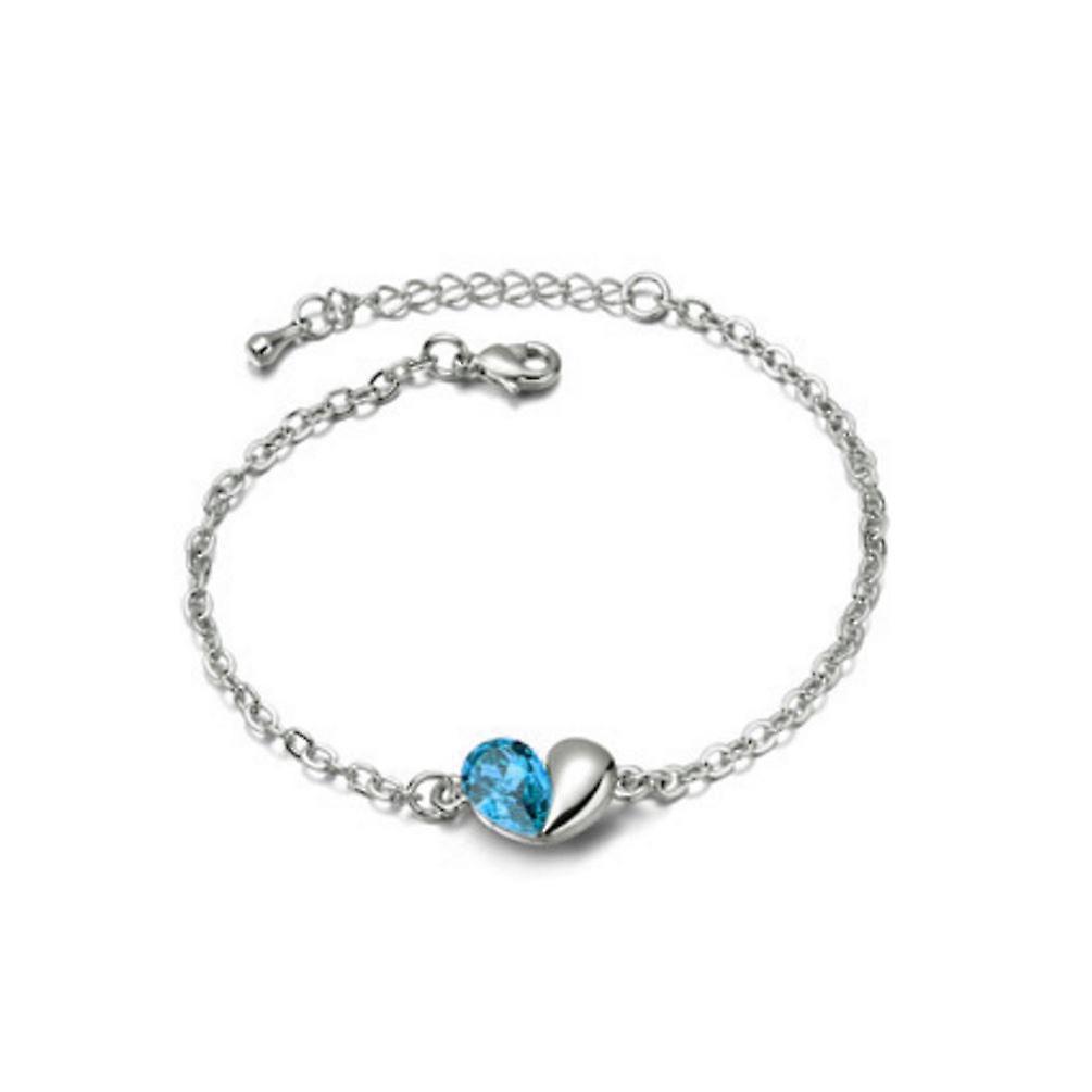 2590e514431 Himmelsblå kärlek hjärtat tema kristall Silver smycken armband | Fruugo