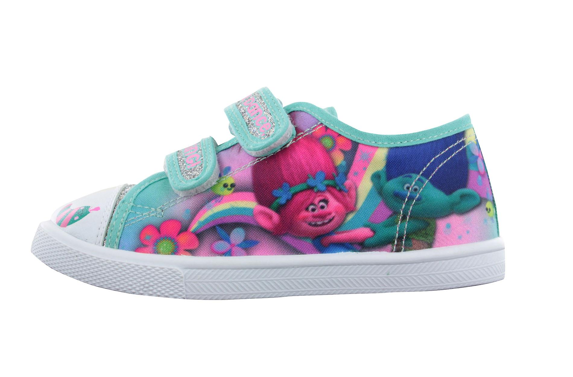 cheap for discount a723d 7b20d Girls Trolls Green Pink Silver Glitter Canvas Trainers Sport Shoes UK Sizes  6-12