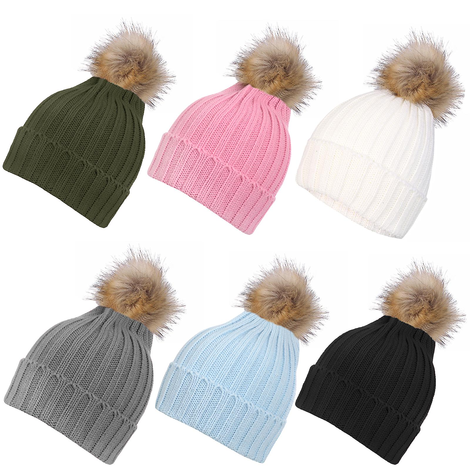 Inspirations Womens Fluffy Faux Fur Pom Pom Beanie Hat Knitted Bobble Hat c6bd38addf
