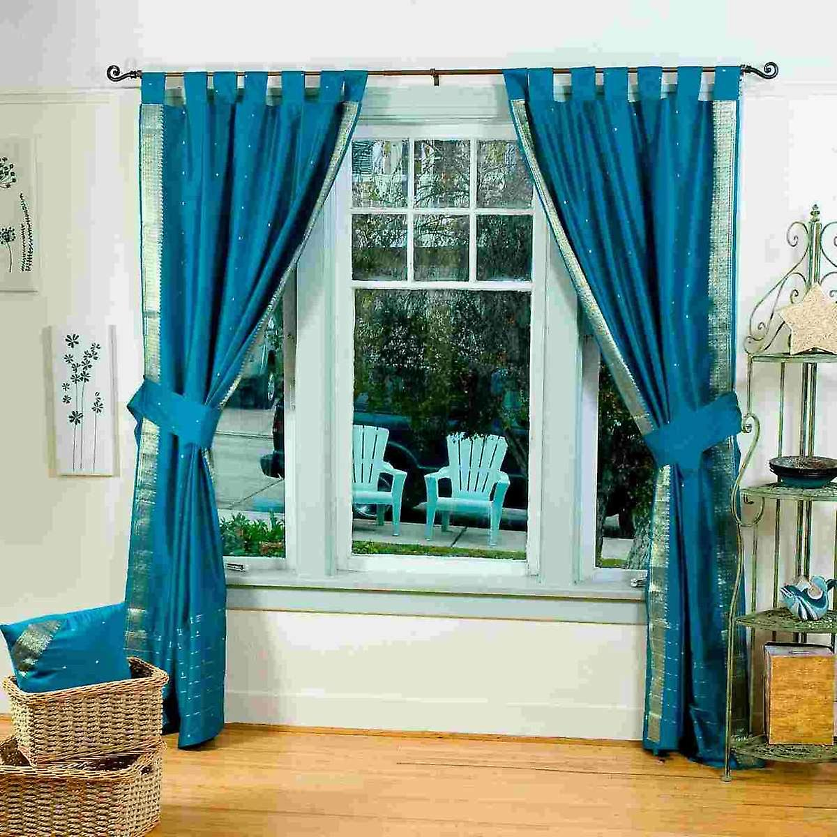 Turquoise sheer curtains