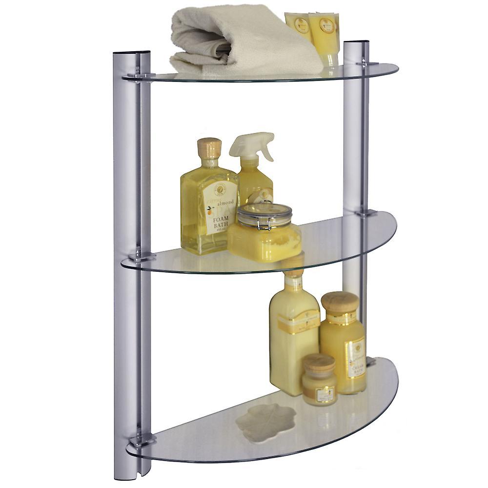 Mensole Per Bagno Vetro.Splash 3 Tier Vetro Regolabile Deposito Mensole Bagno Argento