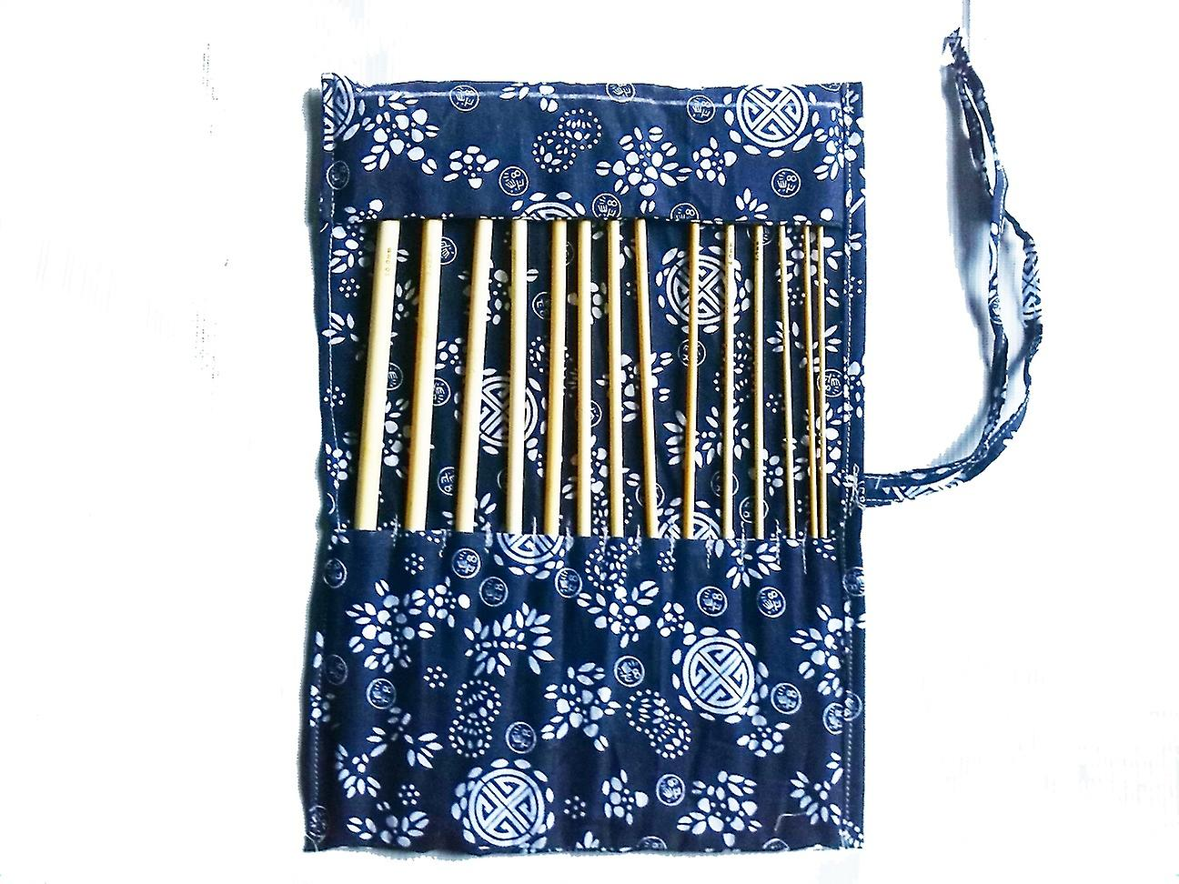 "14 Pcs Of Bamboo Afghan 34cm//14/"" Crochet Hooks With Case Wood Craft Set"