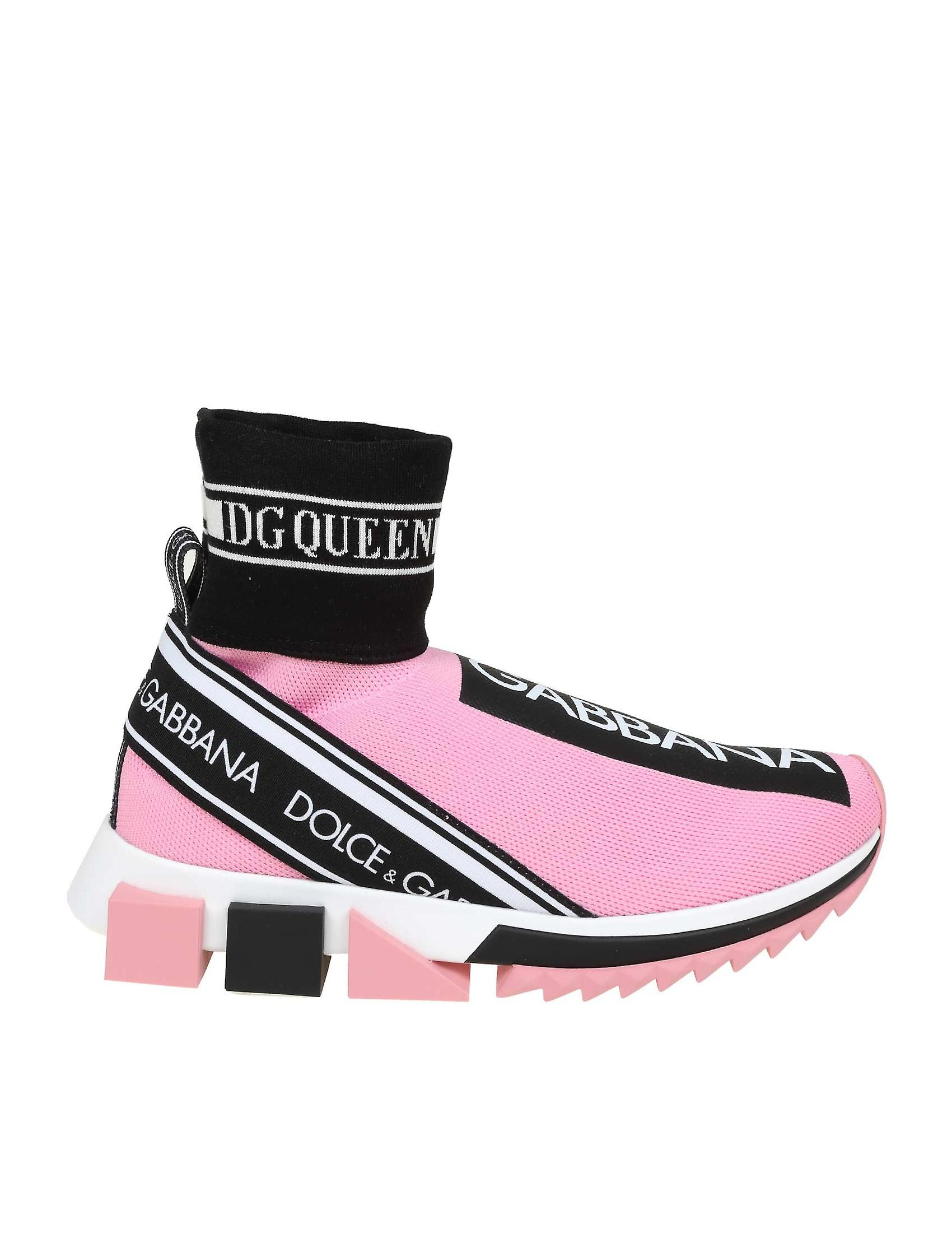 pick up 6b73f ce894 Dolce E Gabbana Pink Polyester Hi Top Sneakers