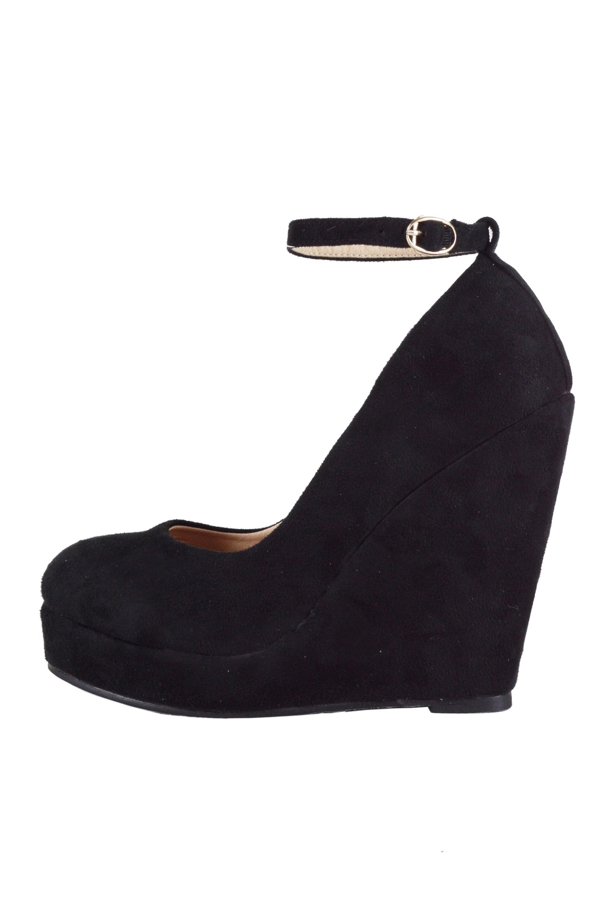 b21c0b6e LMS Black Suede Round Toe Court Shoe With Wedge Heel   Fruugo