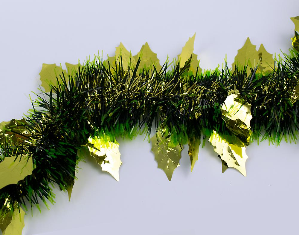 Gold Holly Leaf Black Green Tinsel Christmas Tree Decoration 2m