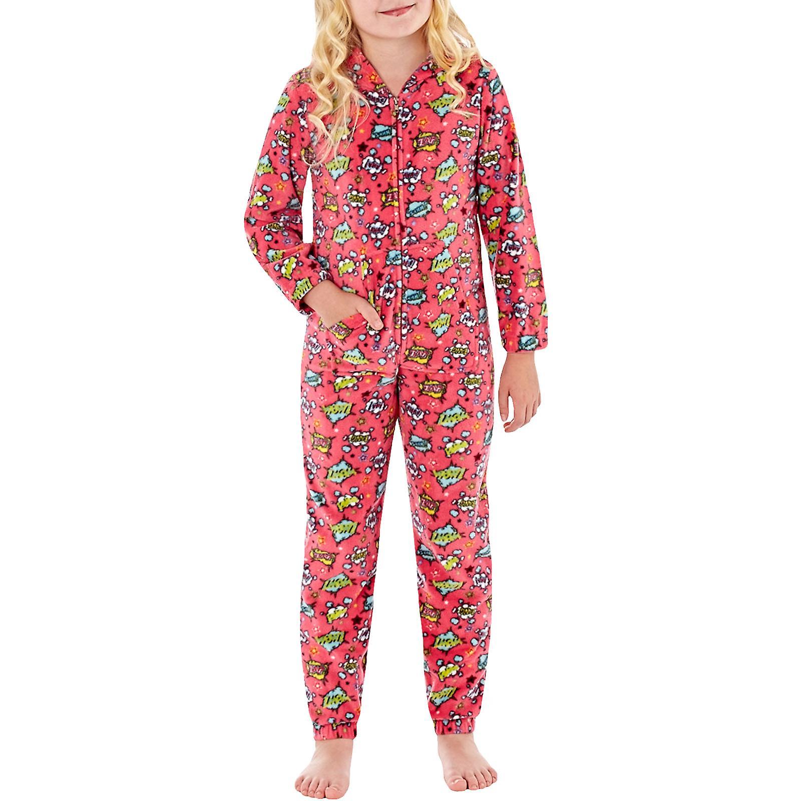 e4ed9b15ca70 Bambini ragazza Selena Childrens Long Sleeve Hooded Fleece One Piece sonno  pigiama
