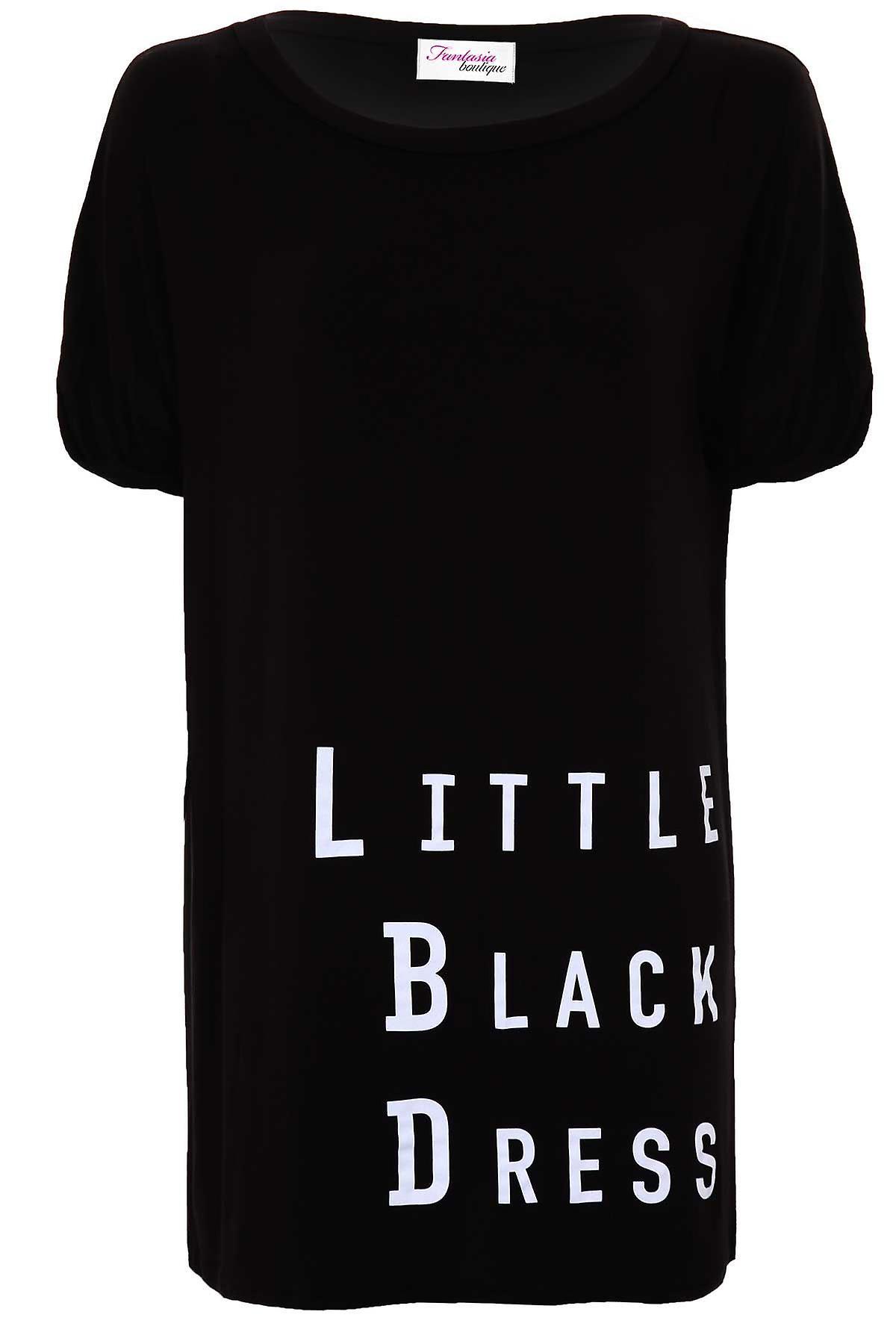 db2cc505877c Ladies nero alzare nero corto abito tunica femminile Abito t-shirt manica