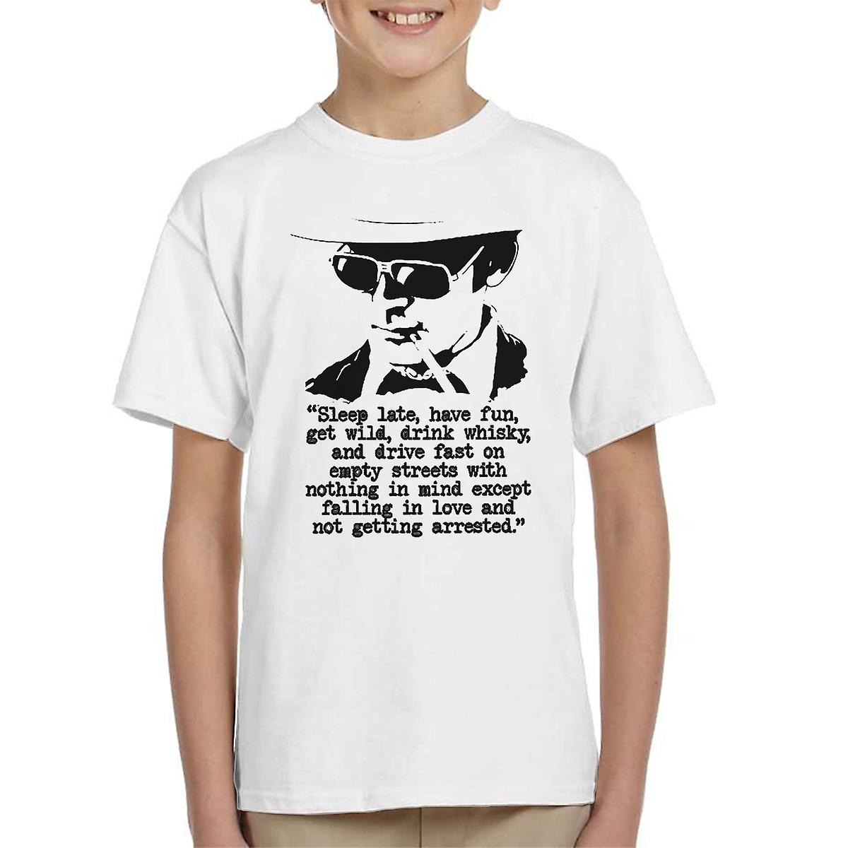 Hunter S Thompson Zitat Schlaf Spät Haben Spaß Kinder T Shirt
