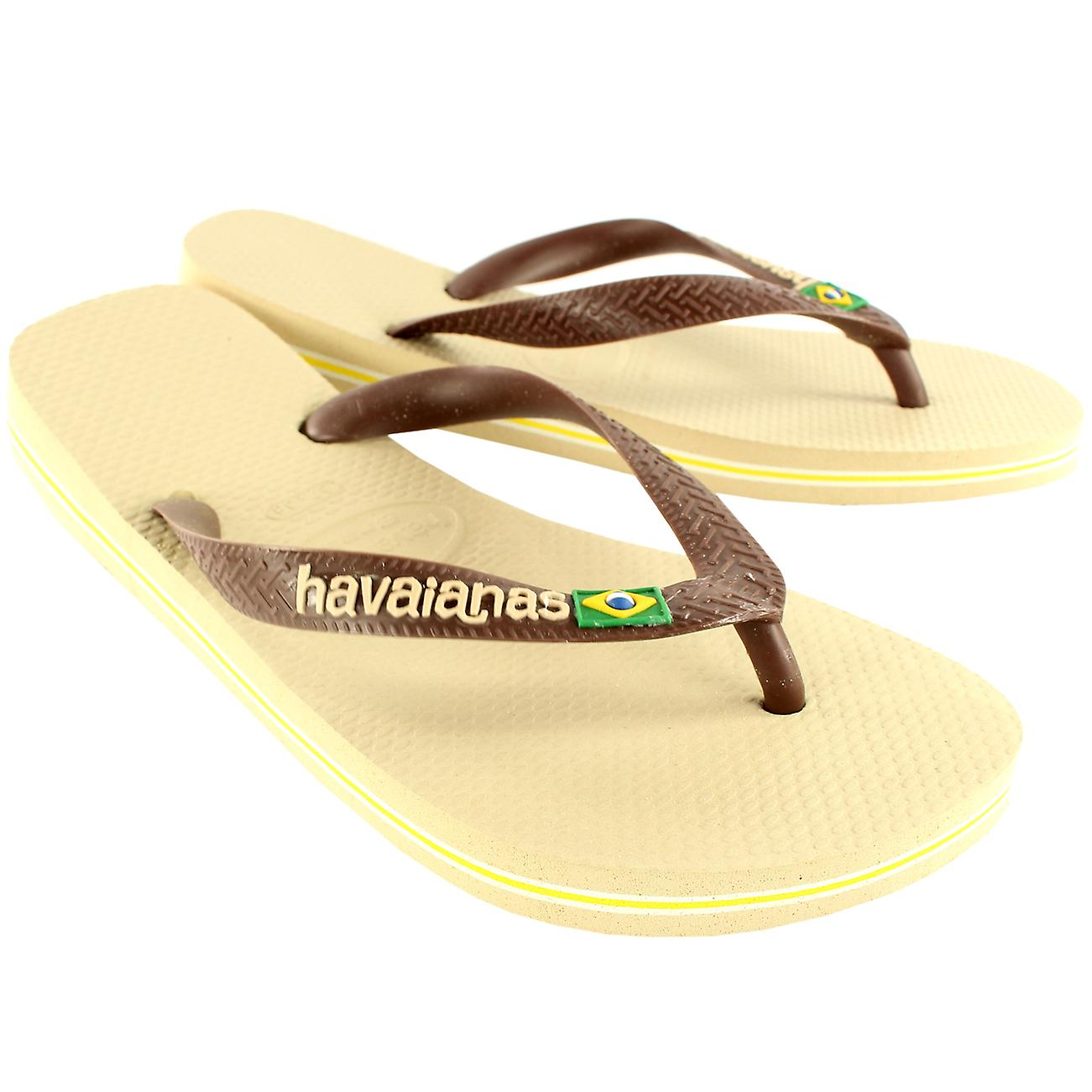 0268ef511c1b9c Womens Havaianas Brasil Logo Slip On Flip Flops Summer Beach Sandals ...